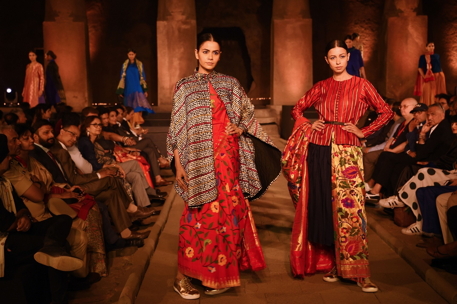 Models showcase designs made from traditional textiles from various regions across India during the 'Artisan Speak' event at the UNESCO World Heritage site Elephanta Caves, near Mumbai on January 28, 2019. (Indranil Mukherjee/AFP/Getty Images)
