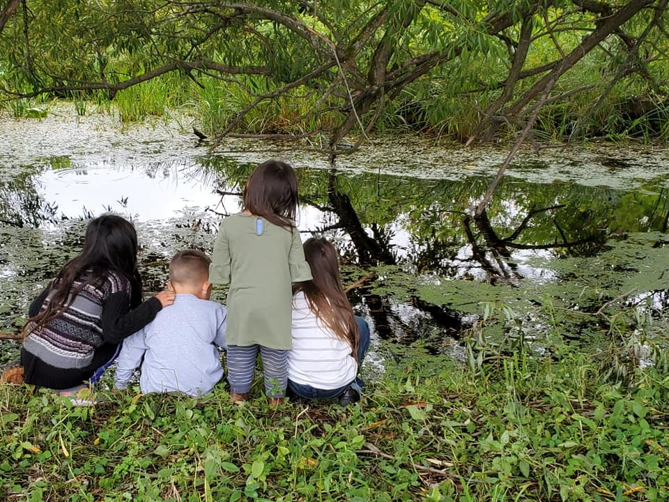 The families who frequent the camp spend their days doing activities along Hopkins Road and the Salmon River. (Submitted by Jaclyn Hall)