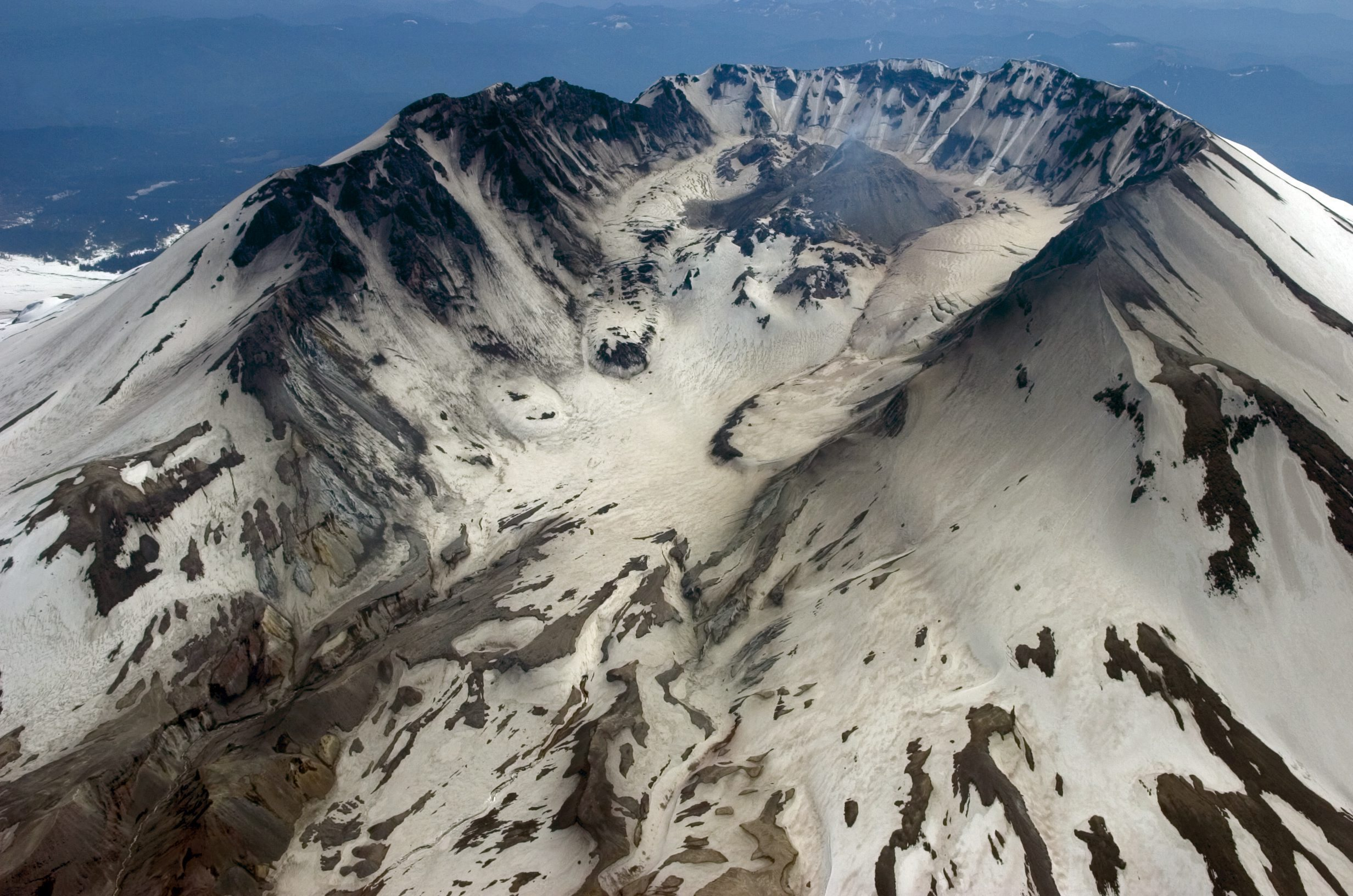 An aerial view of Mount St. Helens in 2006. A chunk of the original volcano is still missing after the 1980 eruption. (AP photo via The Canadian Press)