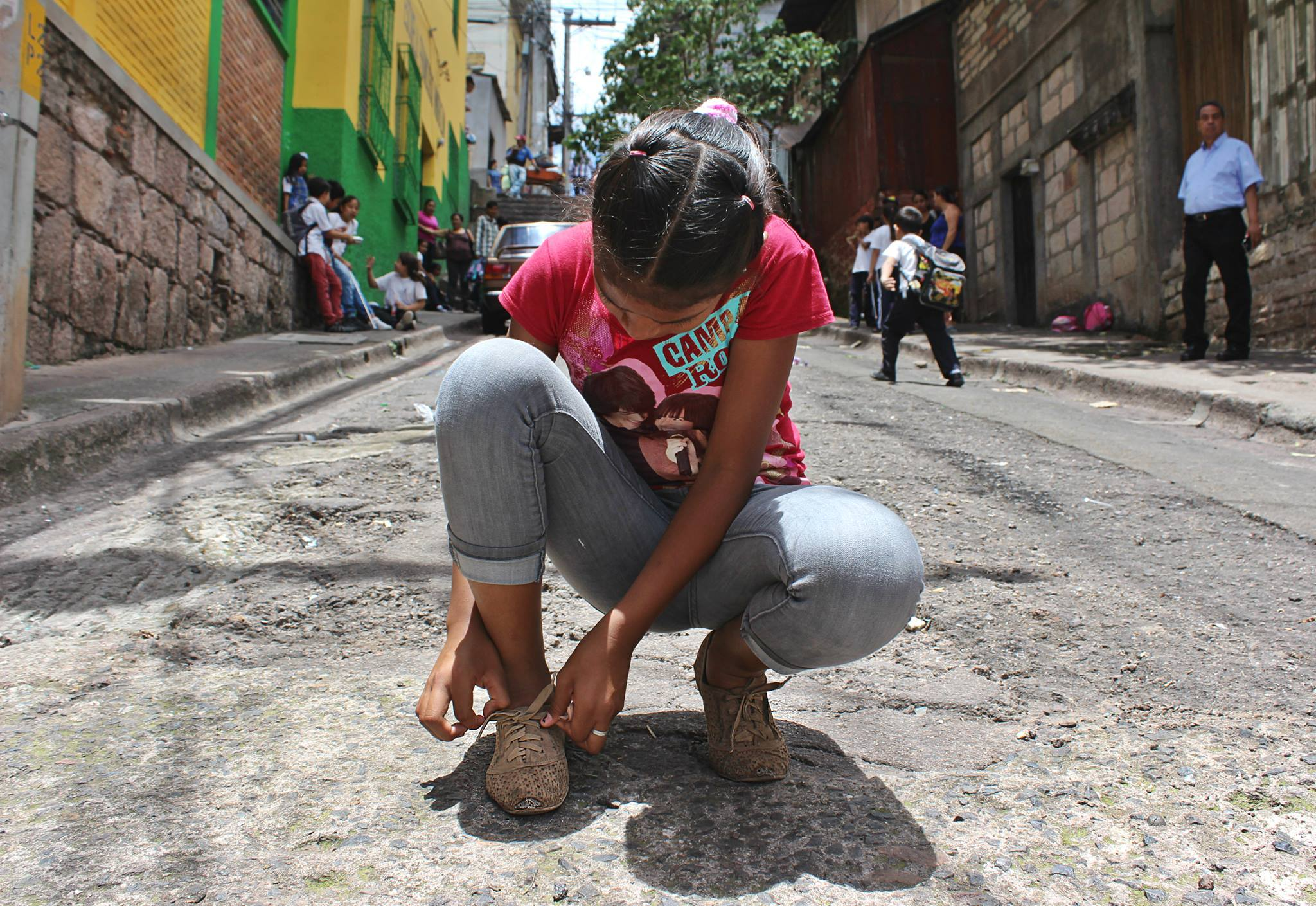 The writer, María José Burgos, took this photo in the dead-end street where her family's house is located and where she came across 11-year-old Michelle Flores on her way to school. (María José Burgos/CBC)