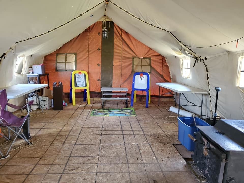 There's a large tent that is used as a communal space for visitors to the camp. (Submitted by Jaclyn Hall)