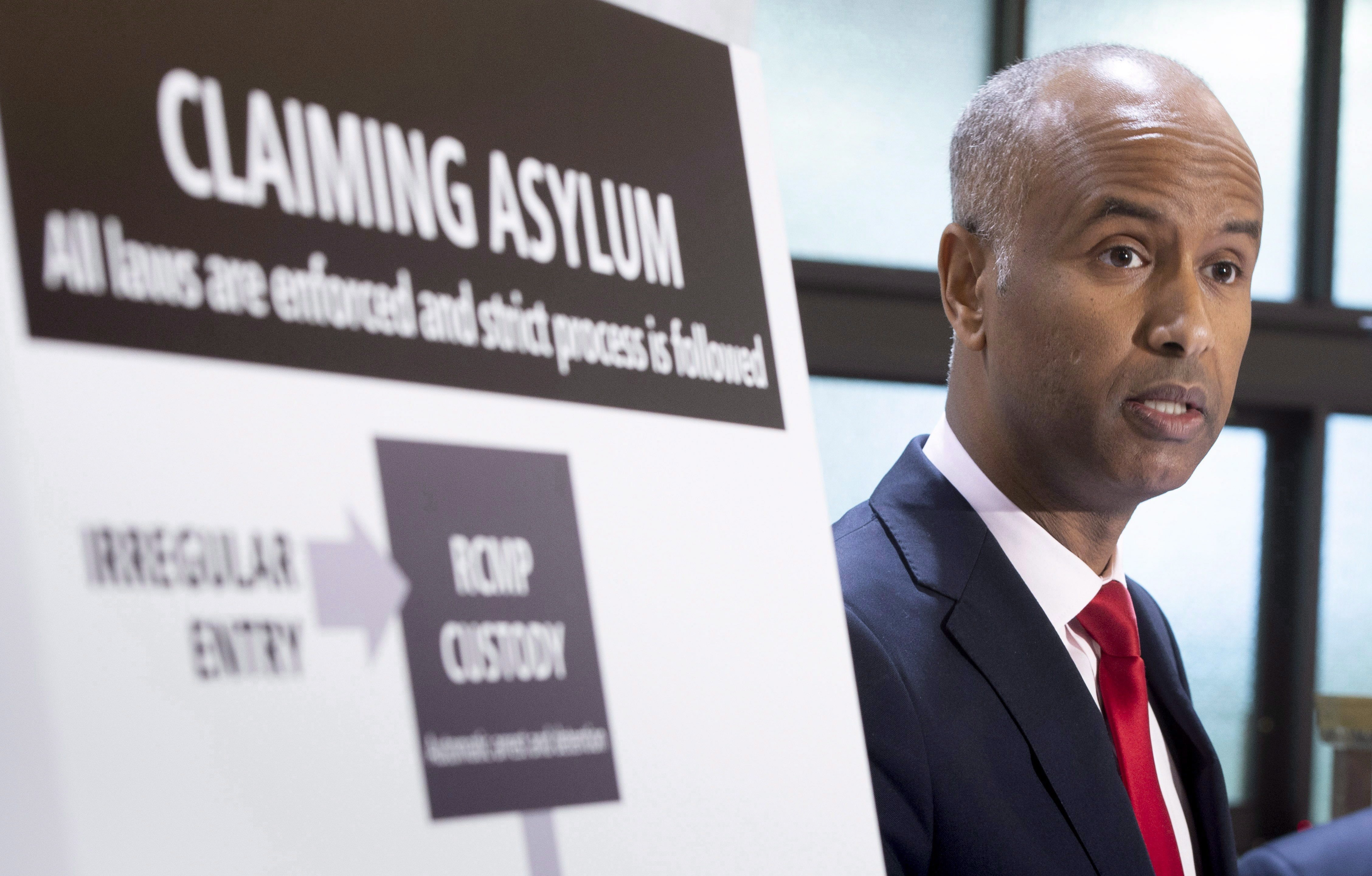 Canadian Immigration Minister Ahmed Hussen has tried to emphasize a balance between security and compassion when dealing with asylum seekers. (Paul Chiasson/Canadian Press)