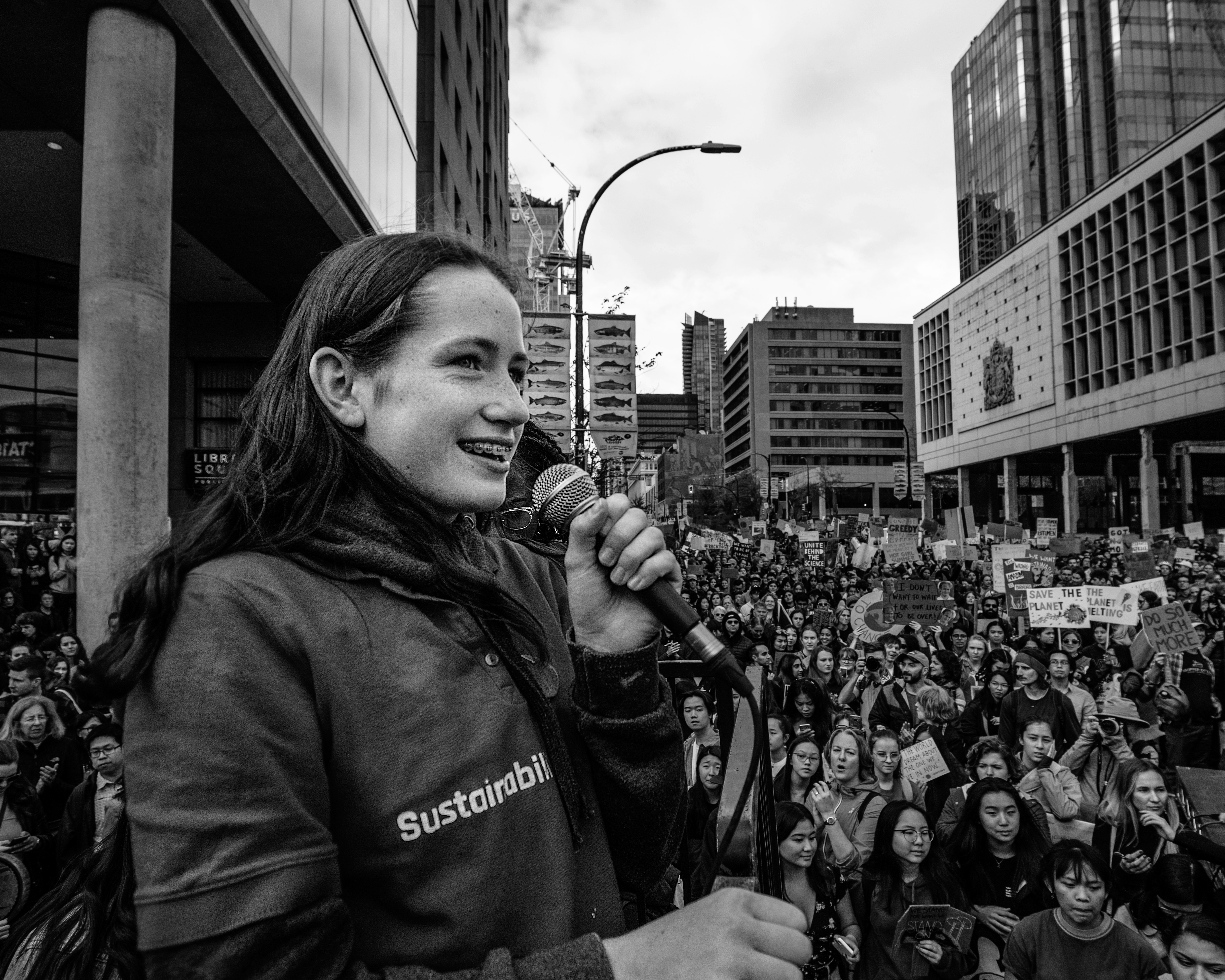 Lilah Williamson, 15, is a member of the climate activist group Sustainabiliteens. She addressed an estimated 100,000 people during a climate strike at the corner of West Hamilton and Georgia Streets on Friday, Sept. 27, 2019. (Maggie MacPherson/CBC)