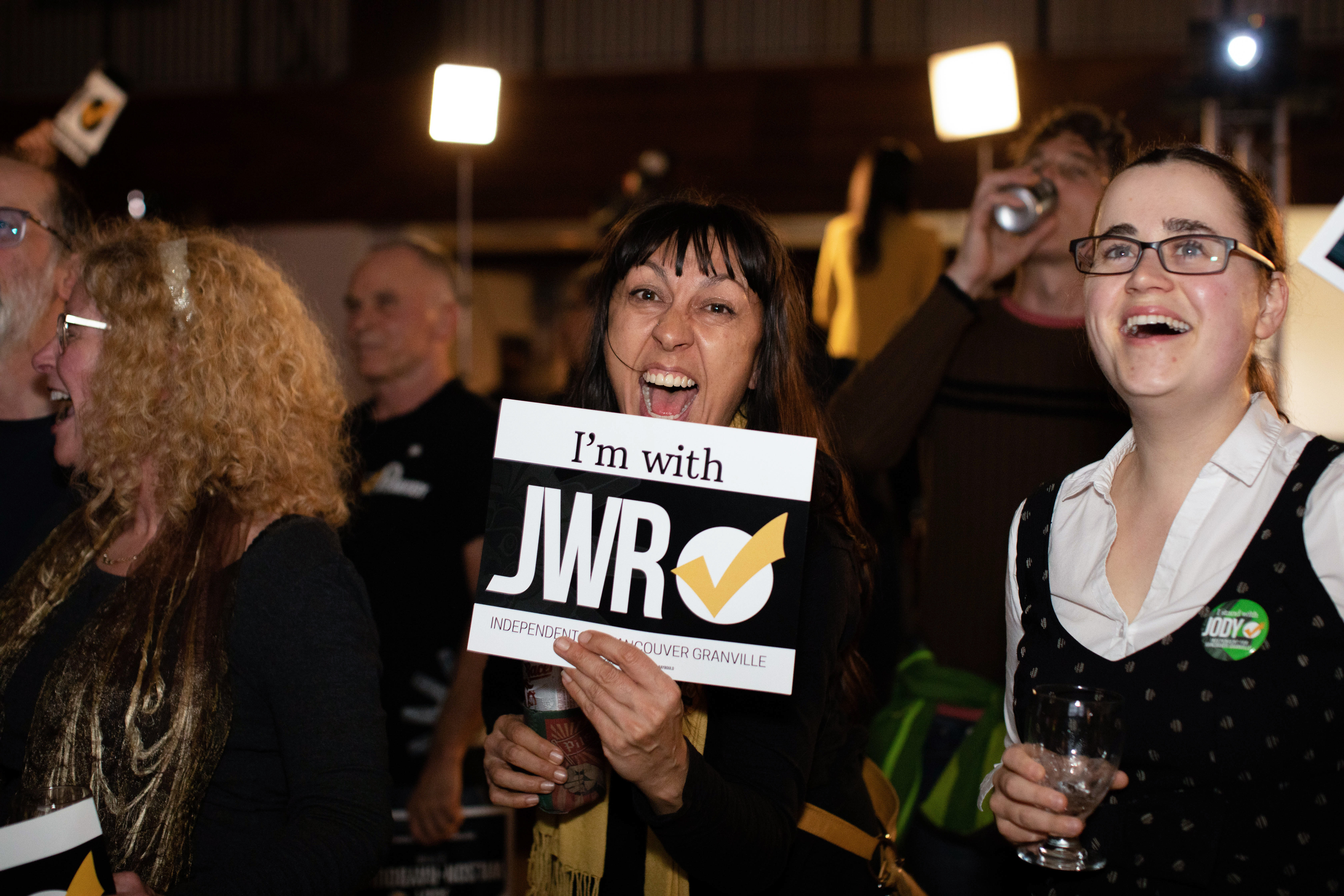 Supporters of independent MP Jody Wilson-Raybould gather on election night, Oct. 21, 2019, in Vancouver. (Maggie MacPherson/CBC)