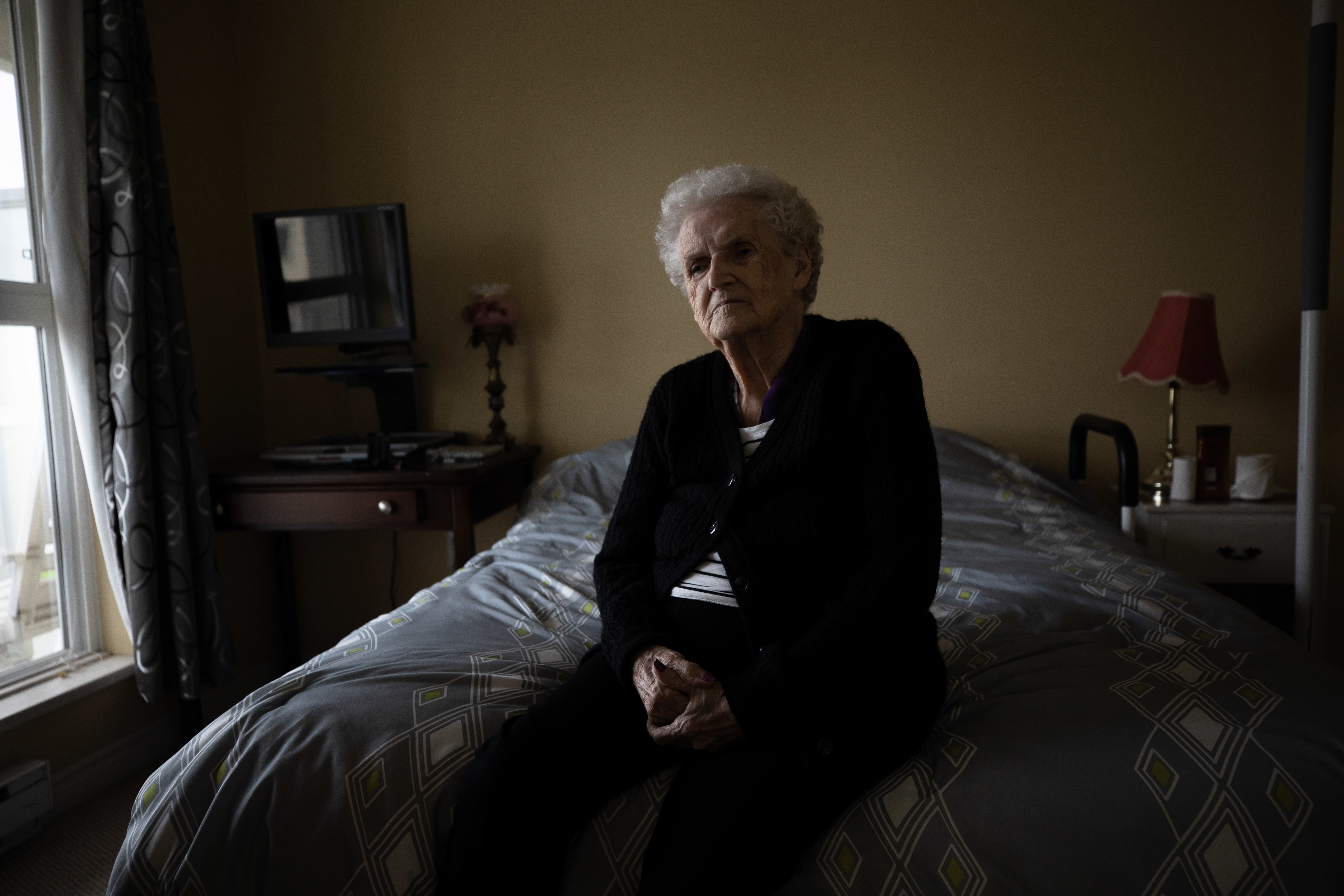 Rita Bedford, 95, was confined to her room as bed bugs fed on her for two weeks over the holidays last December. She is pictured in her new unit at The Cascades Care Community in Chilliwack on Wednesday, Oct. 23, 2019. (Maggie MacPherson/CBC)