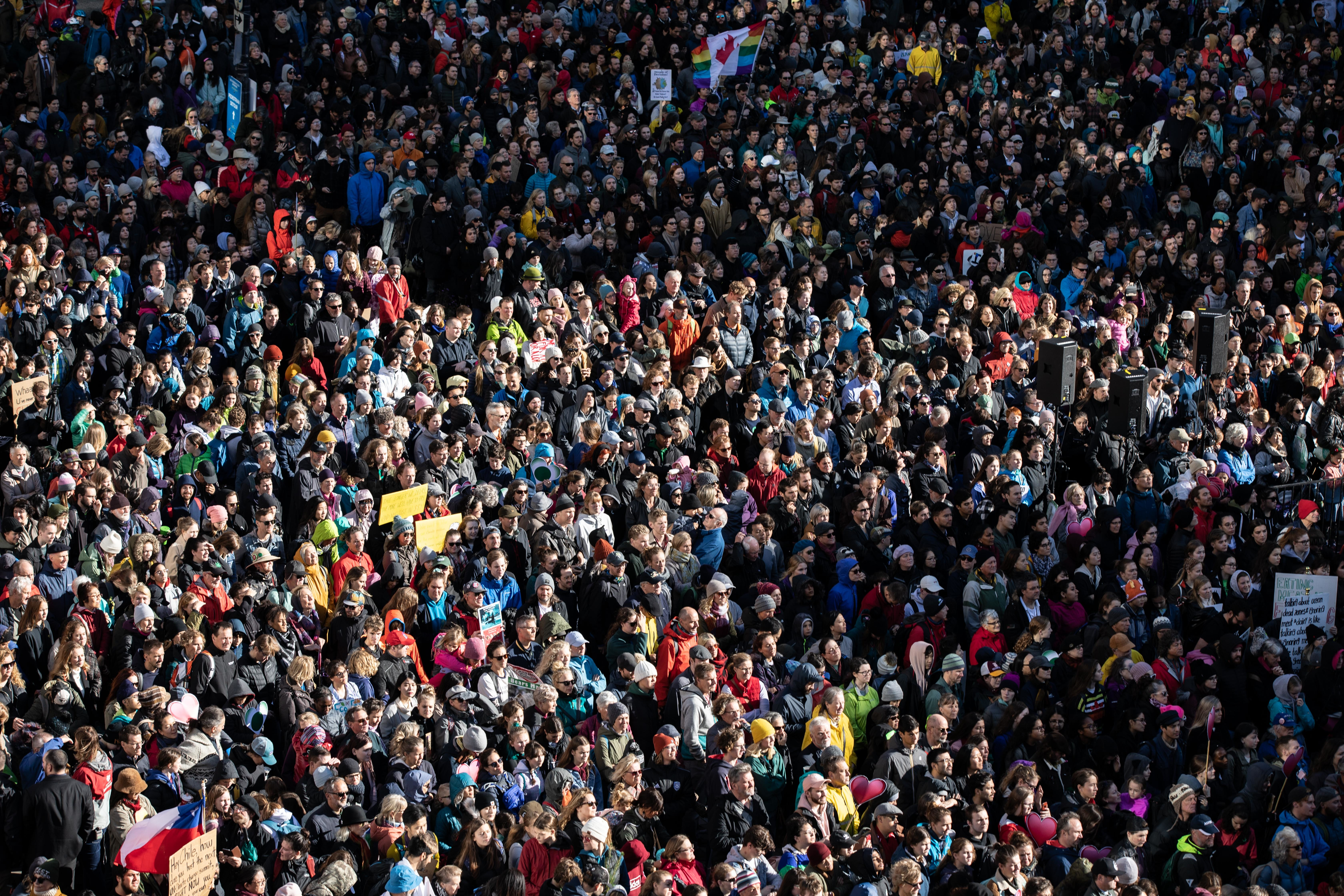 Thousands of people gather outside the Vancouver Art Gallery before a climate march visited by climate activist Greta Thunberg on Friday, Oct. 25, 2019. (Maggie MacPherson/CBC)