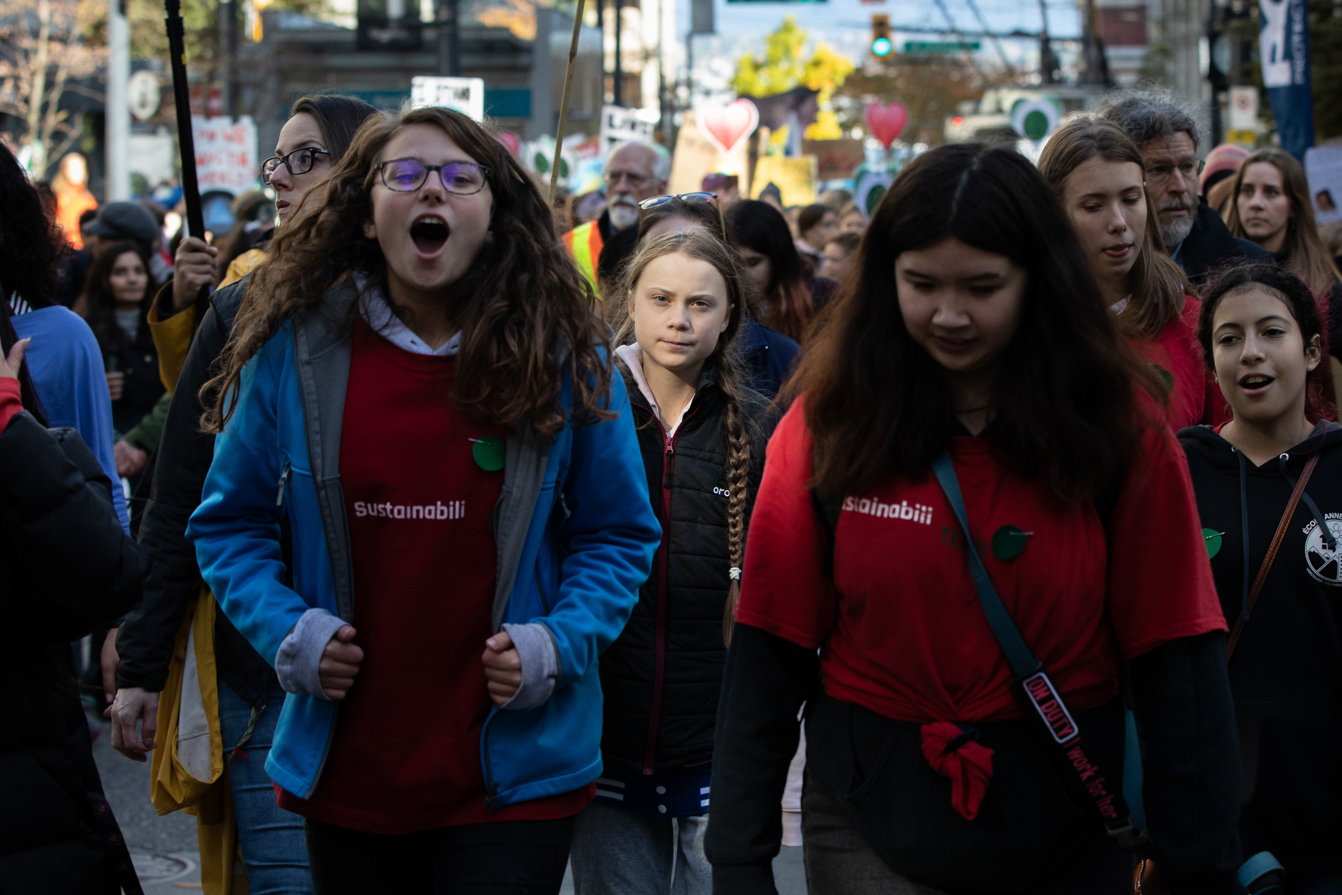 Greta Thunberg visits Vancouver for a climate strike on Friday, Oct. 25, 2019. (Maggie MacPherson/CBC)