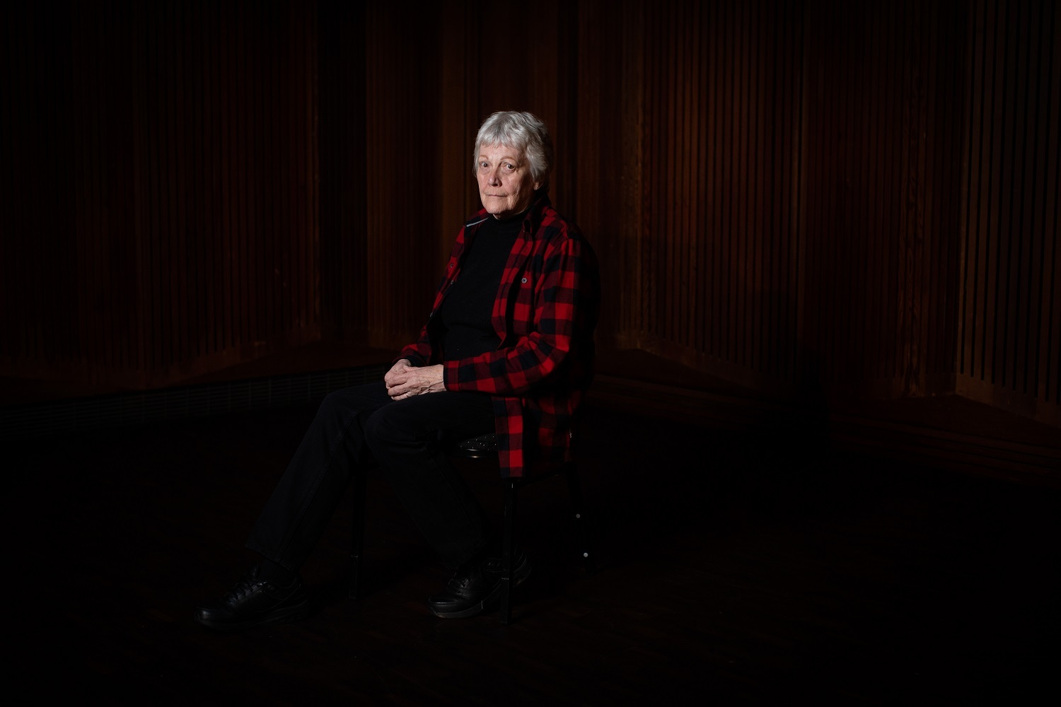 Diane Skippen, 76, is pictured while participating in an intergenerational panel on loneliness and connection in Vancouver on Friday, November 15, 2019. (Maggie MacPherson/CBC)