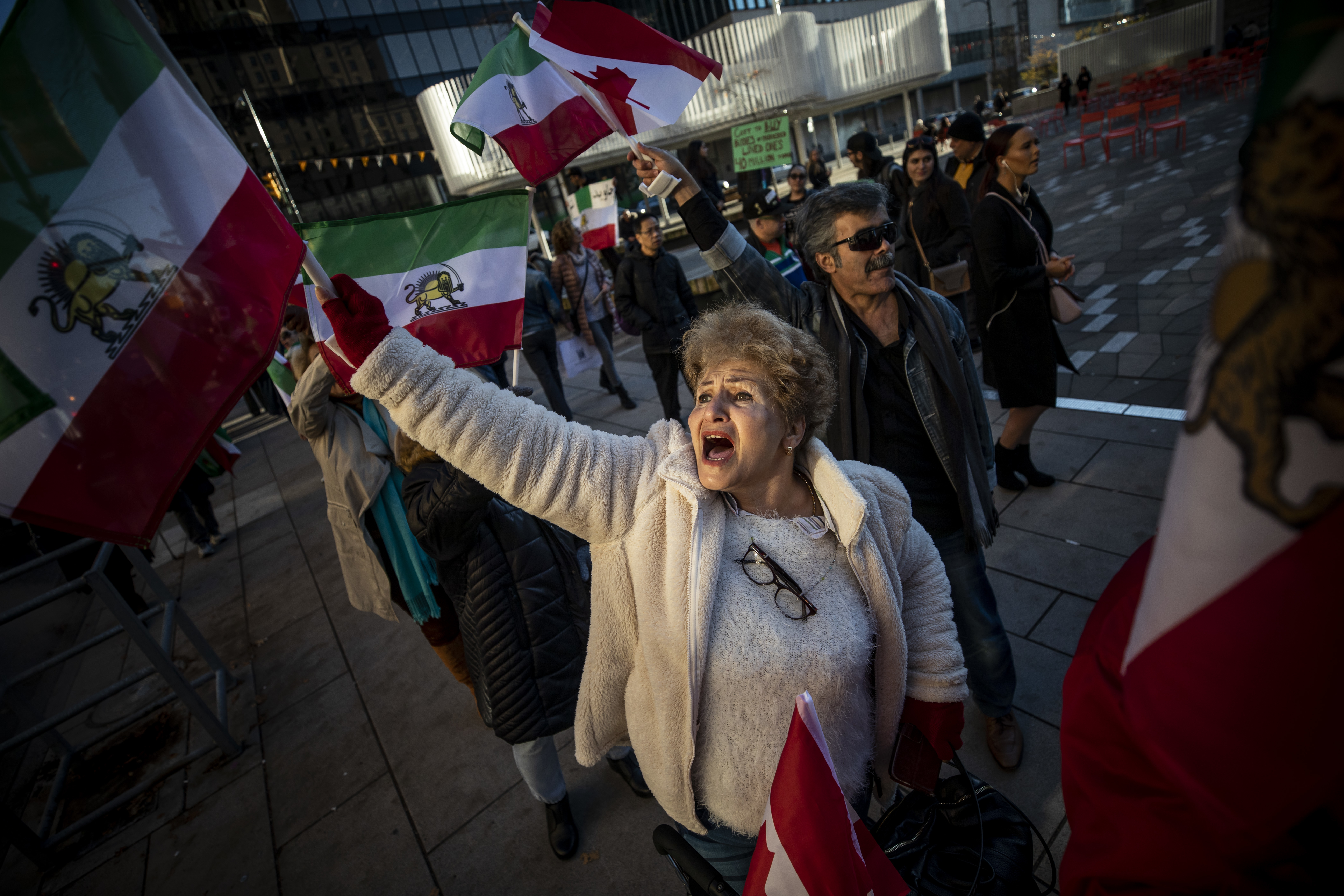 Supporters of a democratic Iran protest on the streets of downtown Vancouver on Nov. 21, 2019. (Ben Nelms/CBC)
