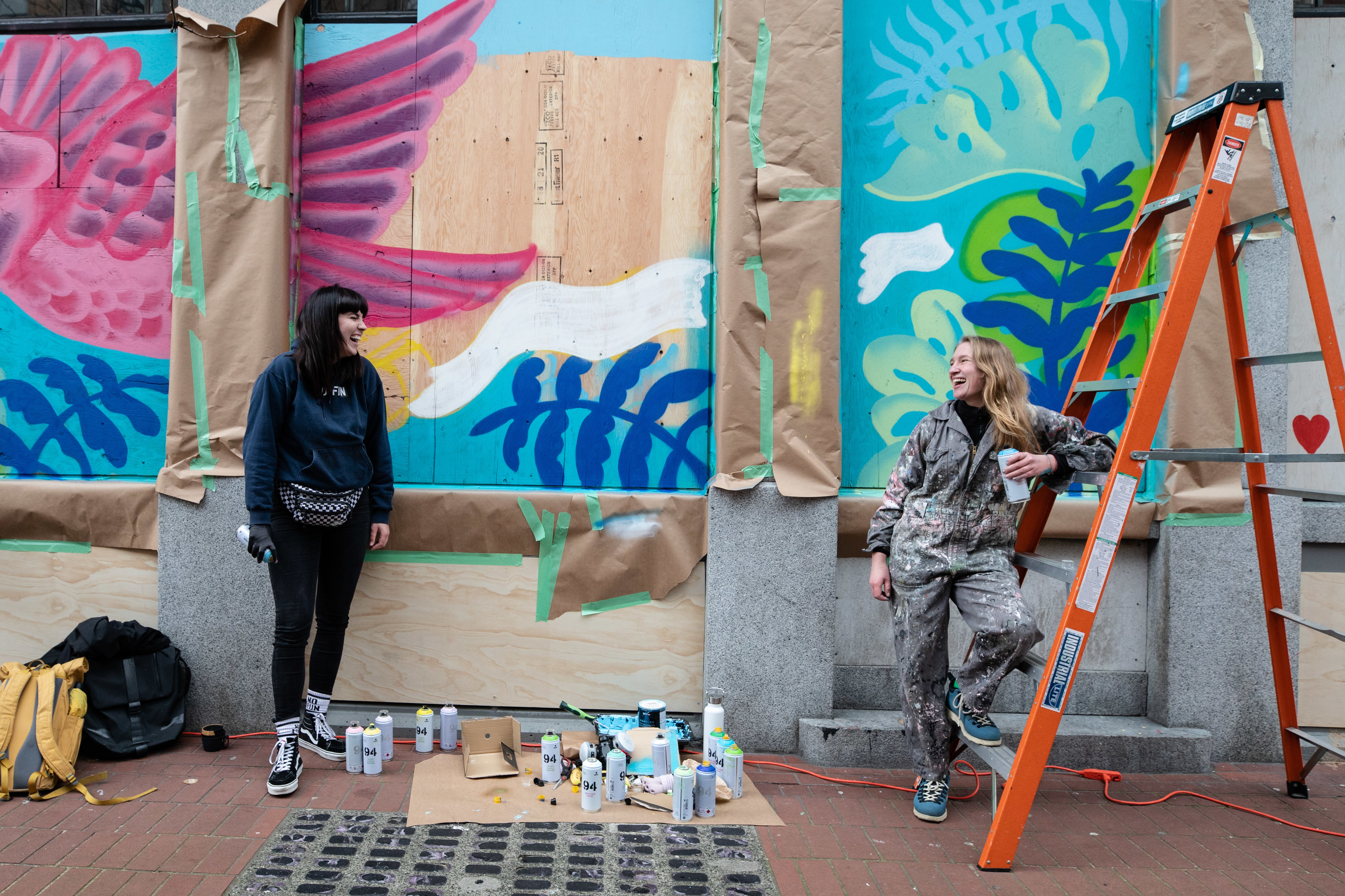 Artists Christina Hryc, left, and Olivia Knight recently finished a two-week quarantine after returning from a mural painting trip to Mexico.