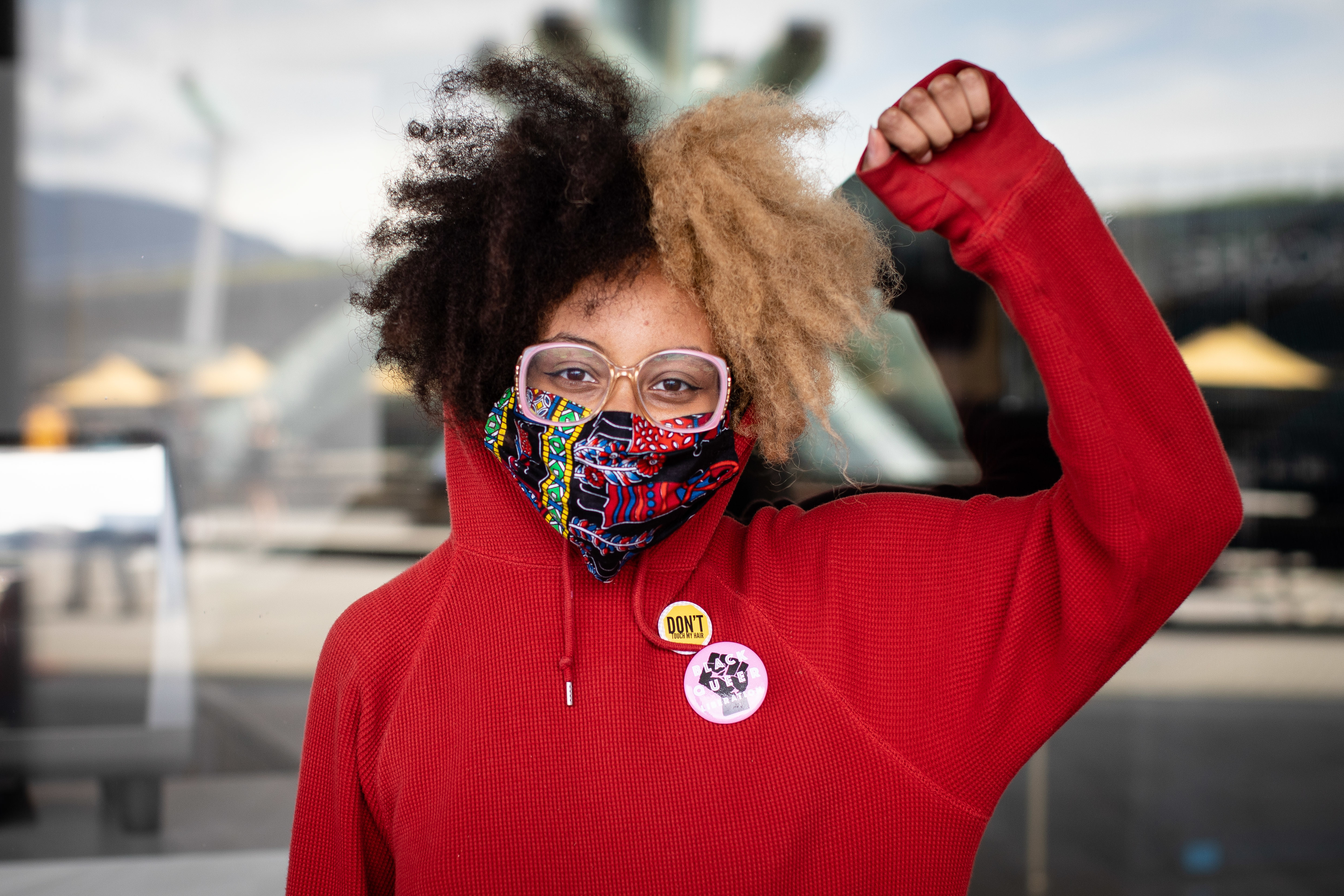 """""""I'm here today to uplift all the black voices that have been lost to police brutality and racism in both Canada and America. We have a problem here too, as well as we do in the States, which is very apparent, and it's time the world sees how much black people are strong and confident and beautiful and worth it, and are worth fighting for."""" - Feven Kidane, 22, protest organizer"""