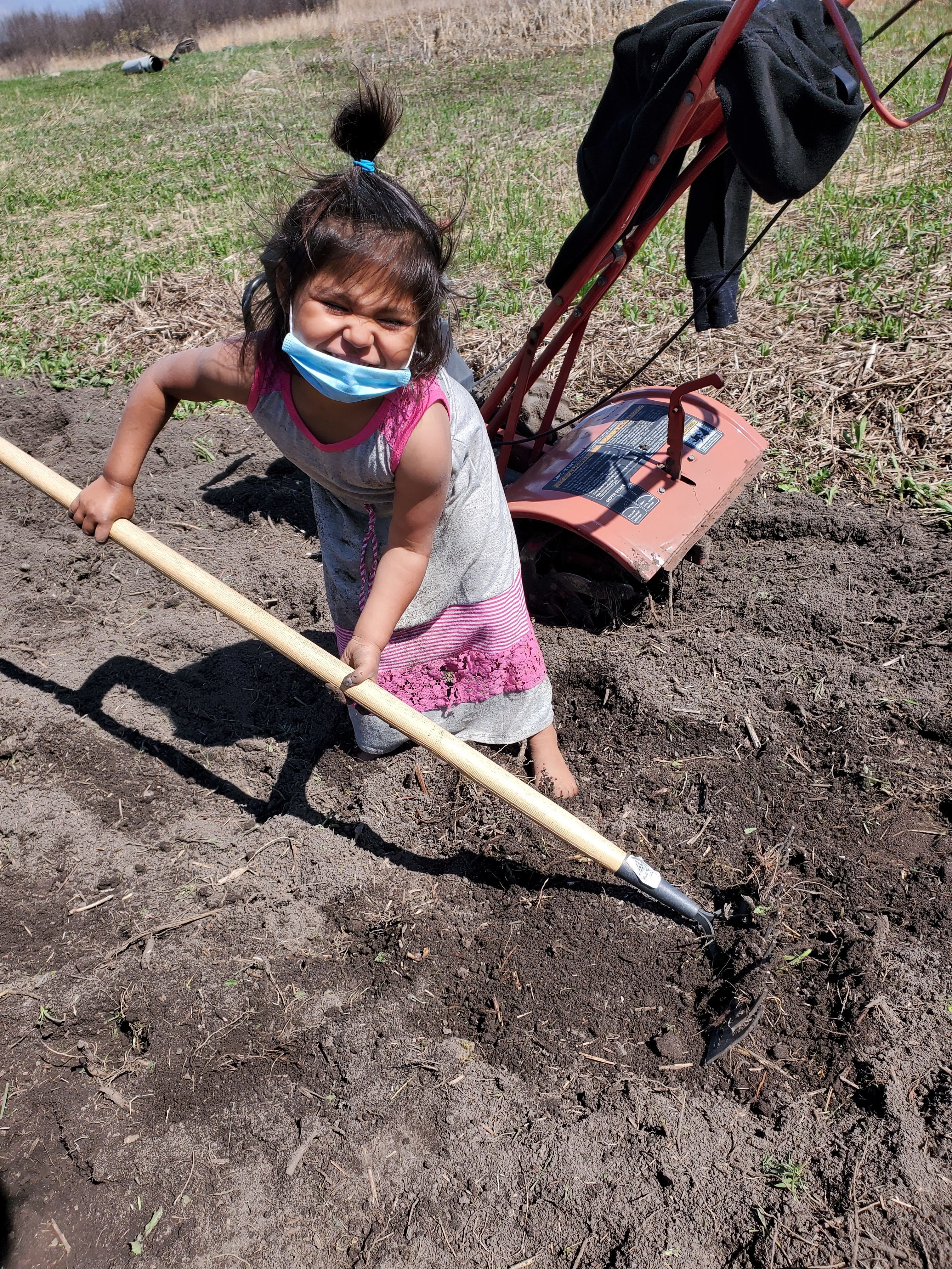 Jaclyn Hall's three-year-old daughter Wathahine helps prepare the family's garden. (Submitted by Jaclyn Hall)