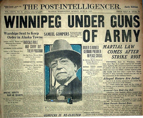 The events in Winnipeg made headlines around the world. Here, the Seattle Post-Intelligencer reports on Bloody Saturday. (Seattle Post-Intelligencer)