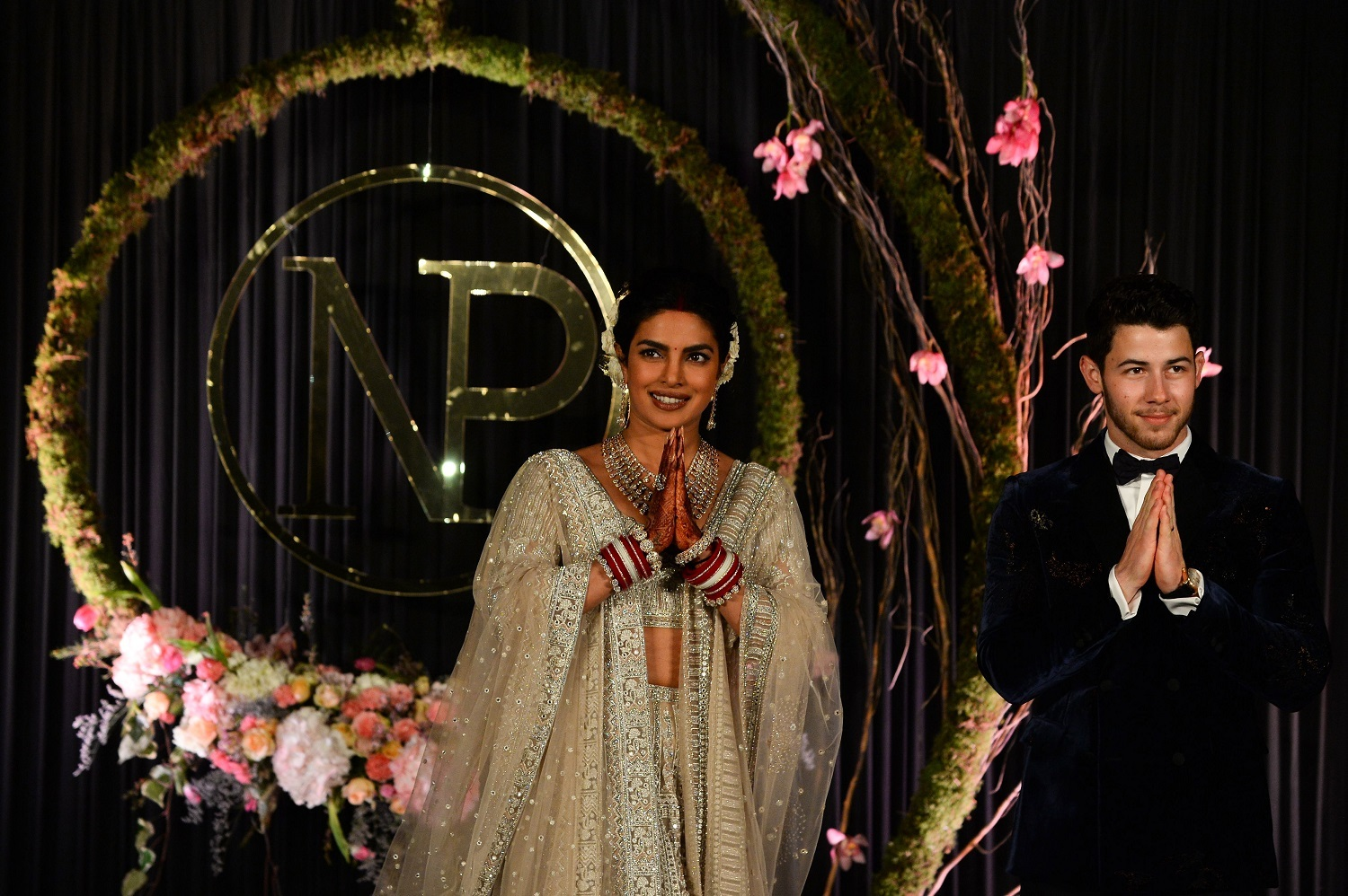 Indian actress Priyanka Chopra who recently married U.S. musician Nick Jonas poses for a picture during their reception in New Delhi on December 4, 2018. Chopra wears a custom-beaded Falguni and Shane Peacock design. (Sajjad Hussain/AFP/Getty Images)