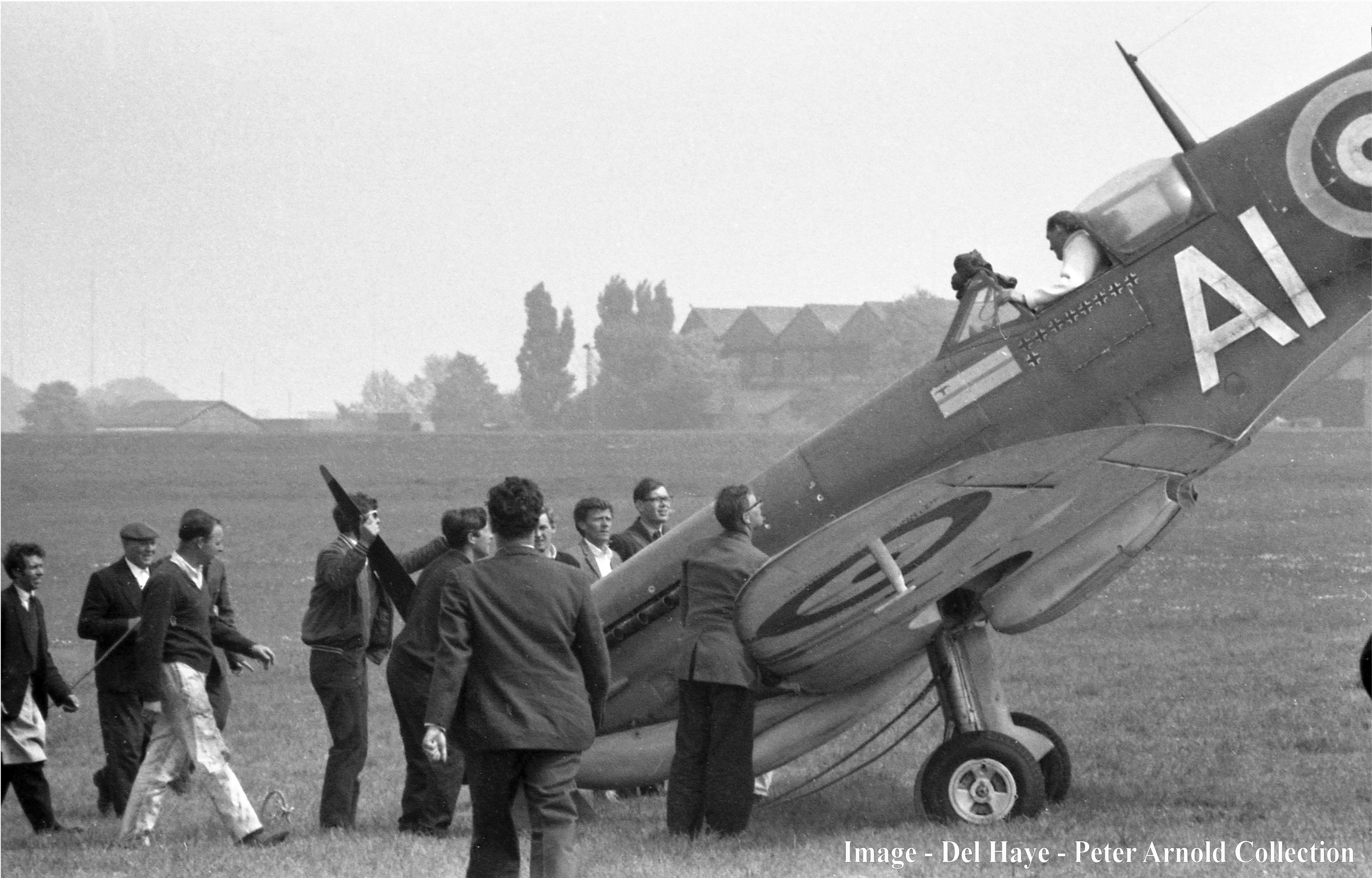 There was an accident with Mann's Spitfire during the filming of the Battle of Britain when the plane tipped onto its nose. (Peter Arnold)