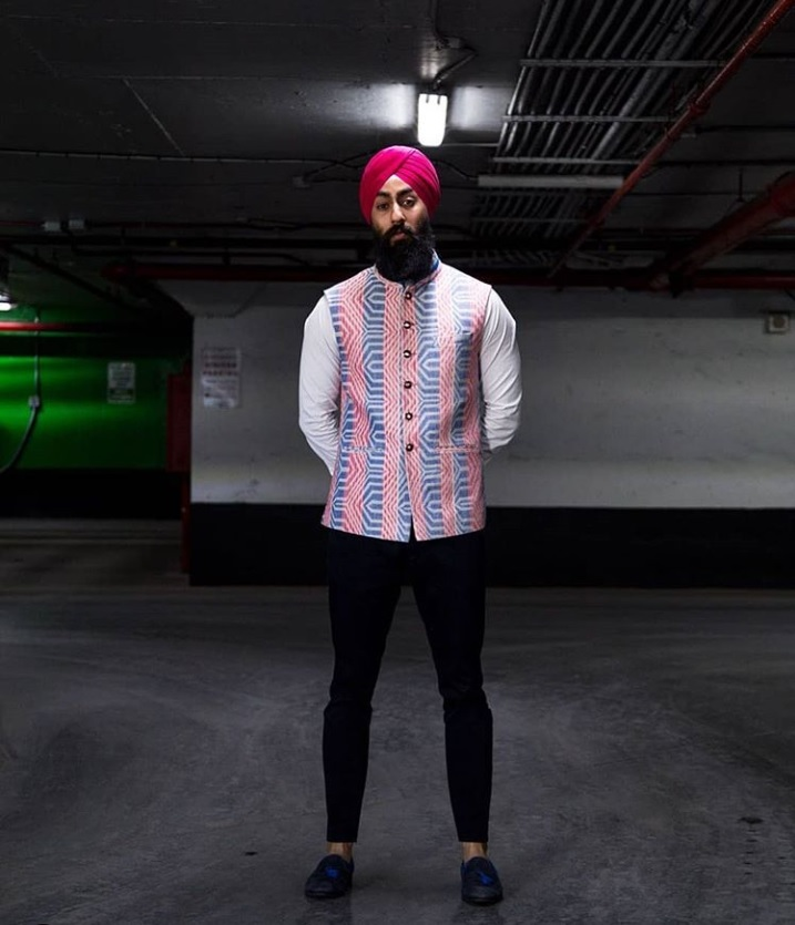 Harjas Singh, a model and stylist from Toronto, says he loves mixing Western and South Asian styles for his look. (@styledbyharj/Instagram)