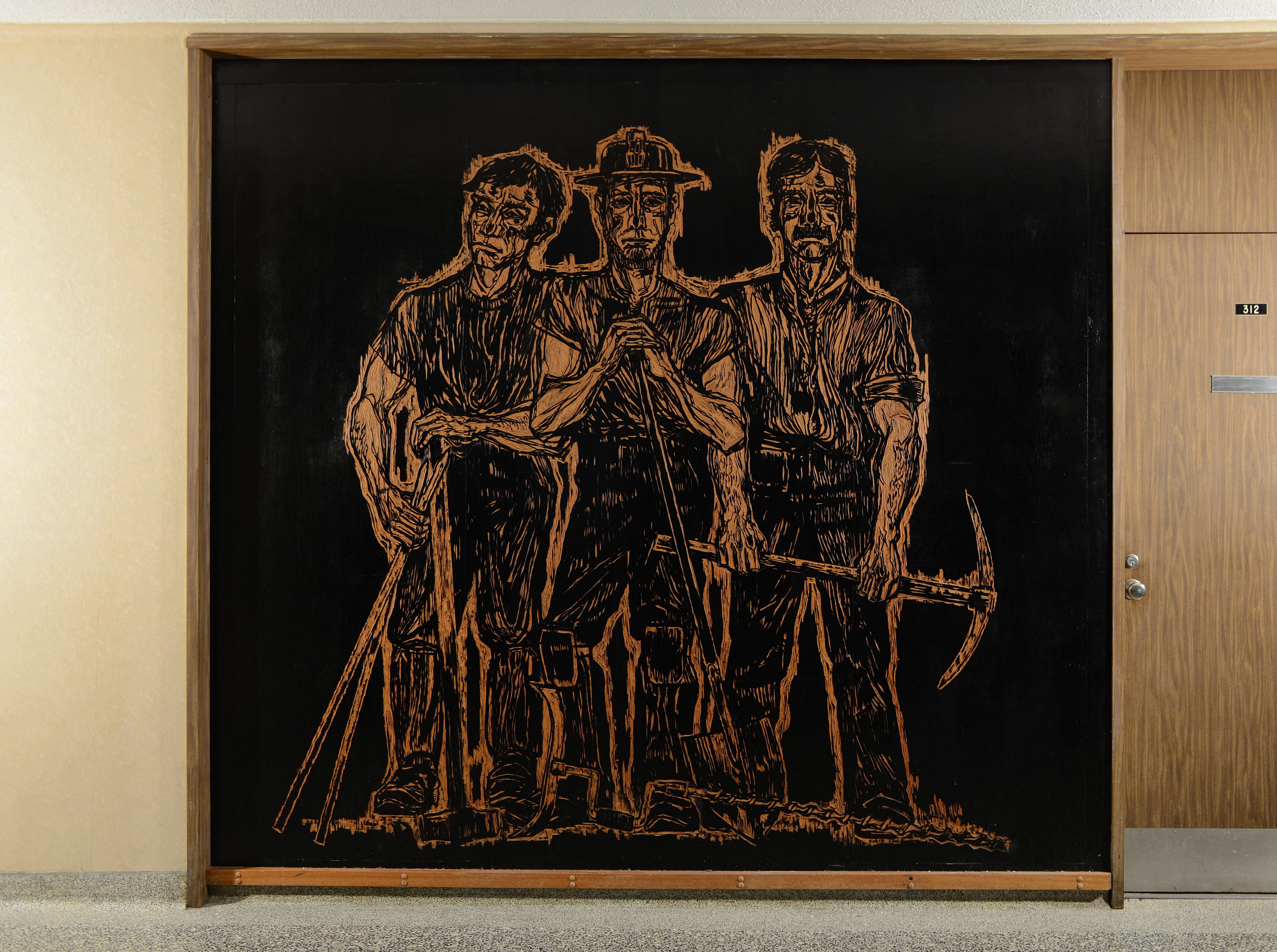 Bruno Bobak's mural is titled Miners. (John Leroux)