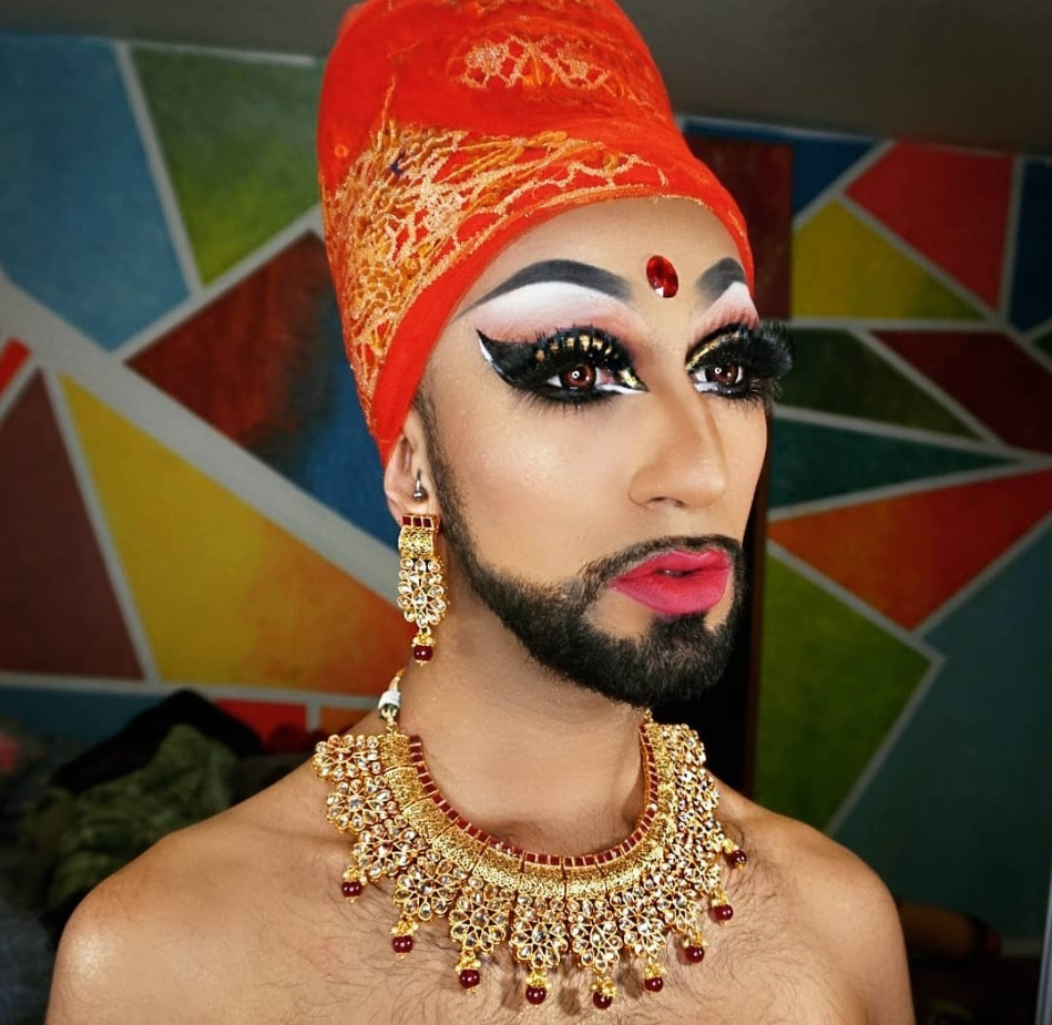 Toronto-based Humza Mian, posing as his drag persona Manghoe Lassi, uses South Asian elements in his attire. (_humzer/Instagram)