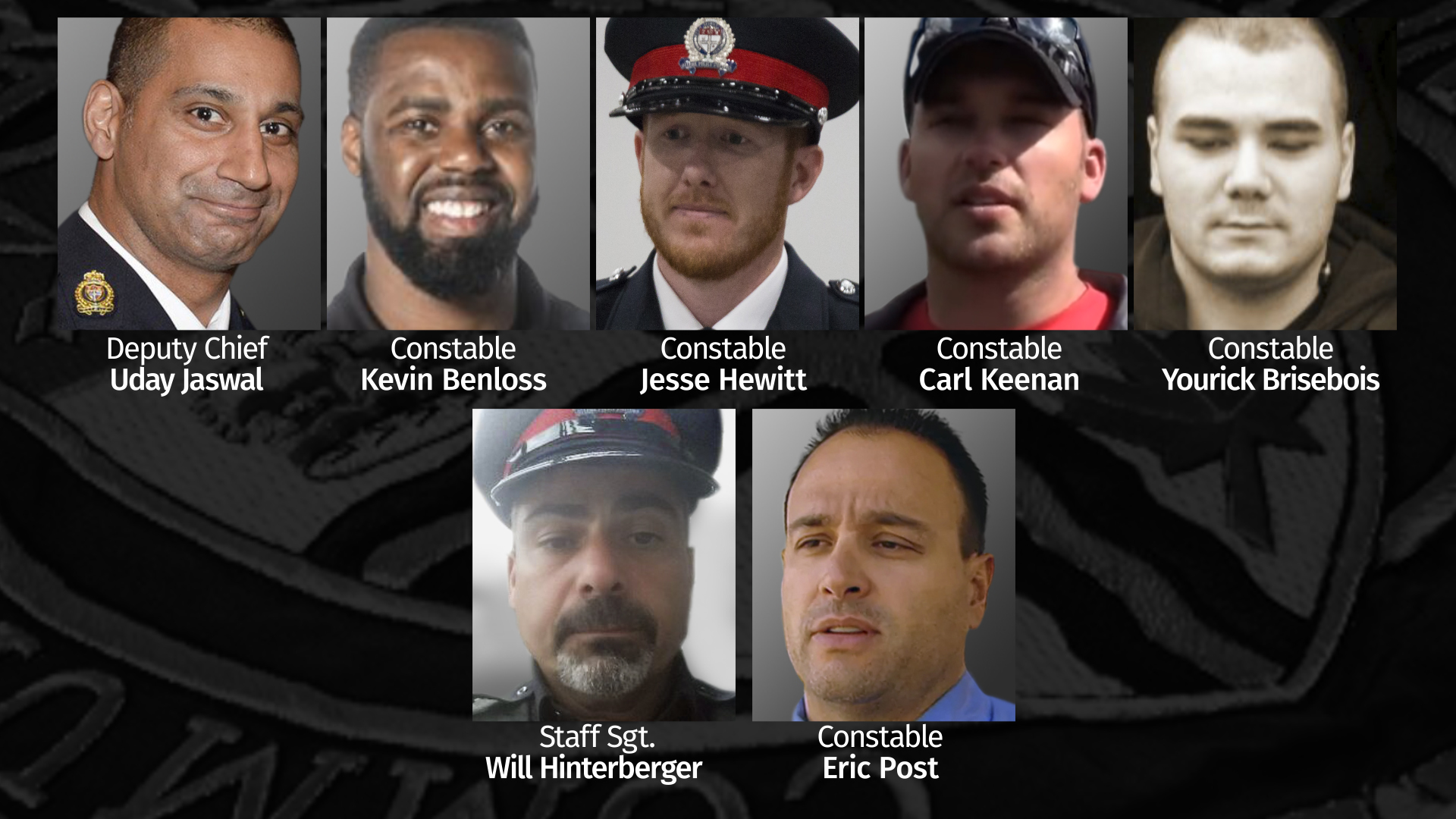 As of February 2021, there are eight Ottawa police officers accused of misconduct involving women who have been suspended. One officer, Const. Brandi Fraser is not shown. (Jake Boone/CBC)