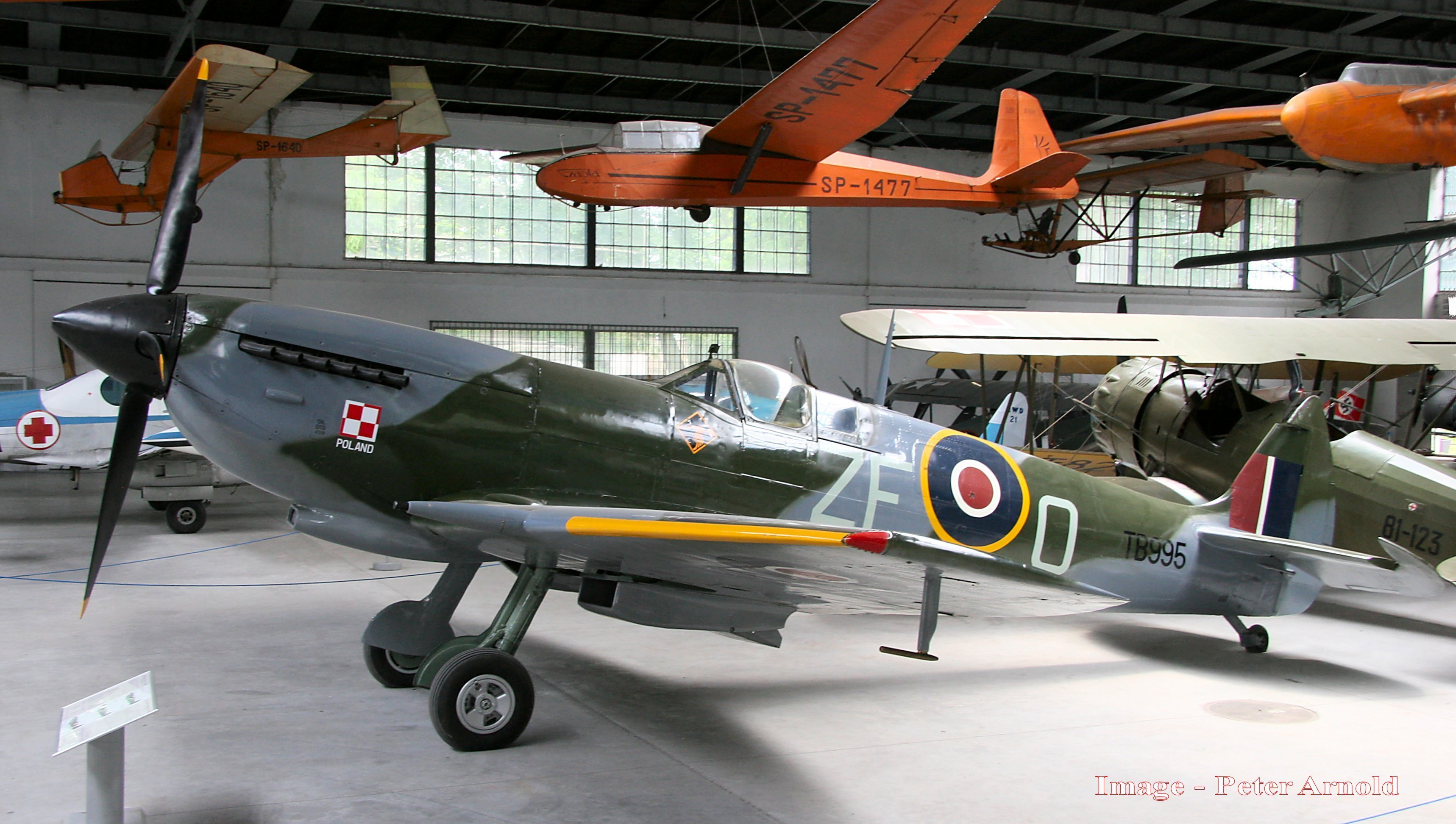 The repainted Spitfire once flown by Mann is shown in the Polish Aviation Museum in Krakow, Poland. (Peter Arnold)
