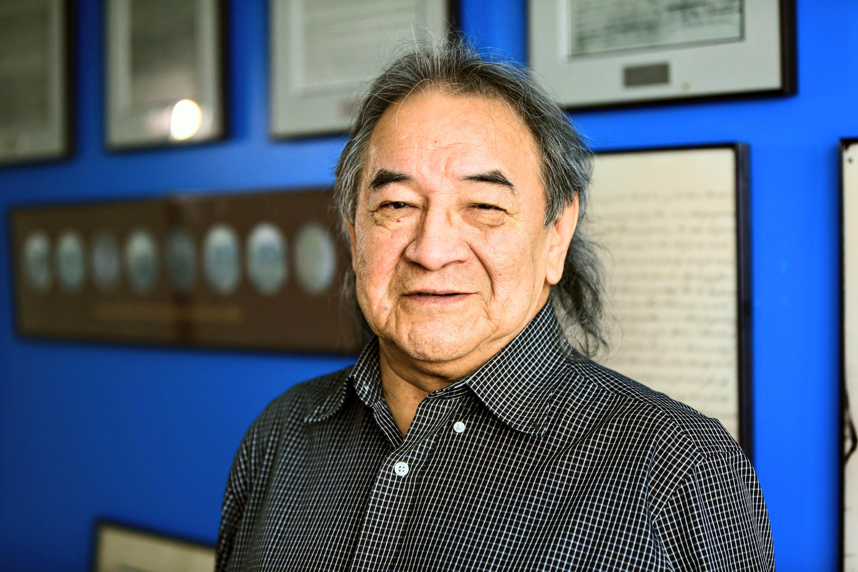 Elder Dennis White Bird seeks honesty in honouring treaties: 'The truth will set us free.' (Tyson Koschik/CBC)