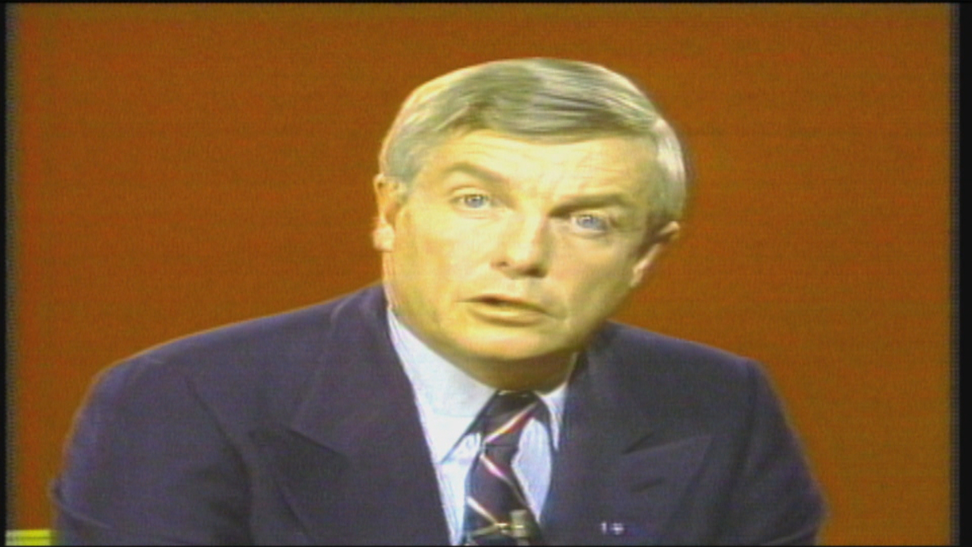 Peter Lougheed took to the airwaves 48 hours after the NEP was announced to say he was turning down the taps. Photo: The Journal/CBC