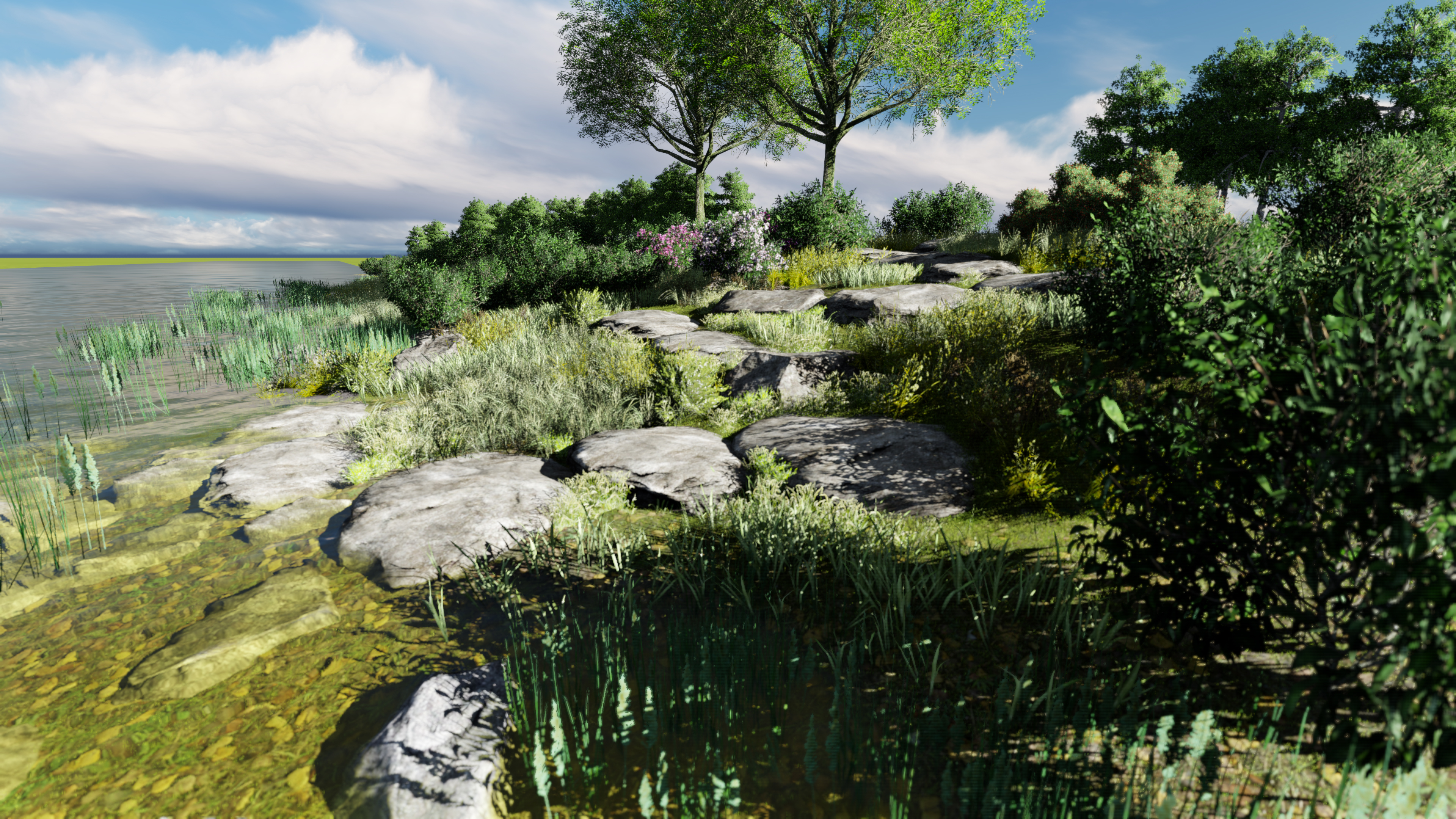 A rendering of one of the shoreline enhancements that is part of the restoration project for the bay and Kateri Tekakwitha Island. (Ka'nhehsí:io Deer/CBC)