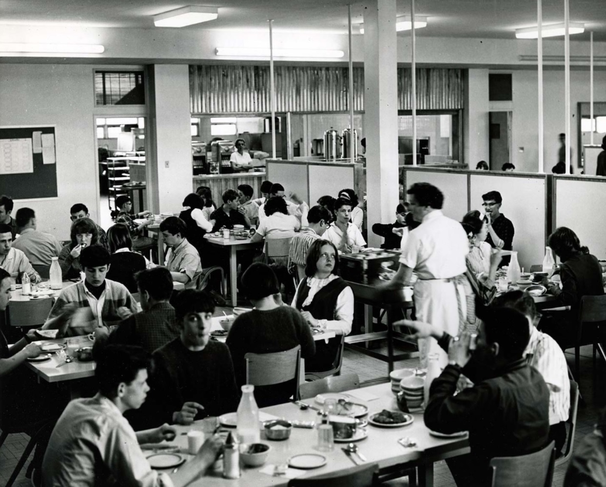 Students are shown at the dining room of the Interprovincial School for the Education of the Deaf in Amherst, N.S. (Nova Scotia Archives)