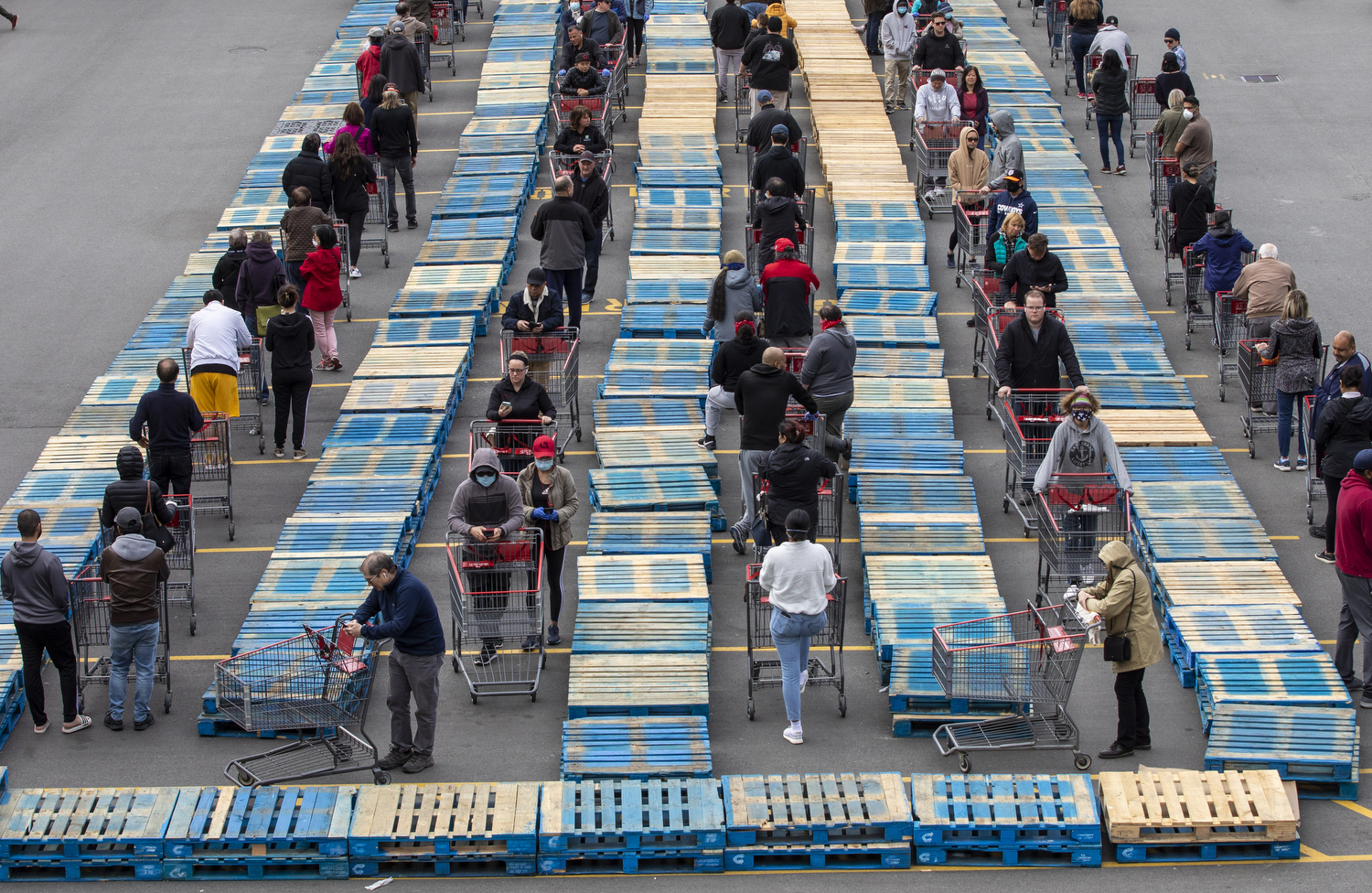 Shoppers line up between pallets outside of Costco Wholesale store in Burnaby, B.C., on April 21, 2020. (Ben Nelms/CBC Vancouver)