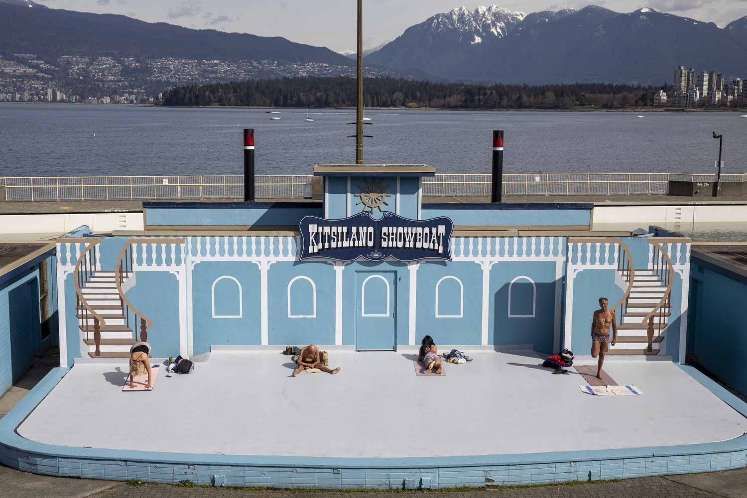 Physically distanced sunbathers at Kitsilano Beach in Vancouver on April 6, 2020. (Ben Nelms/CBC Vancouver)