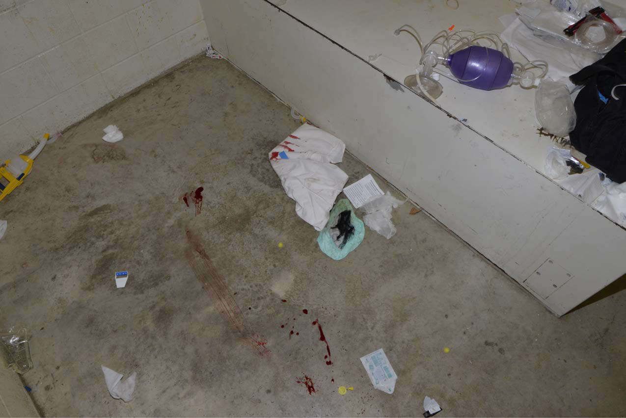 There is no footage of what took place inside the cell. These blood smears were among the hundreds of photos of the scene taken by investigators following Faqiri's death and obtained by The Fifth Estate. (Kawartha Lakes Police Service)