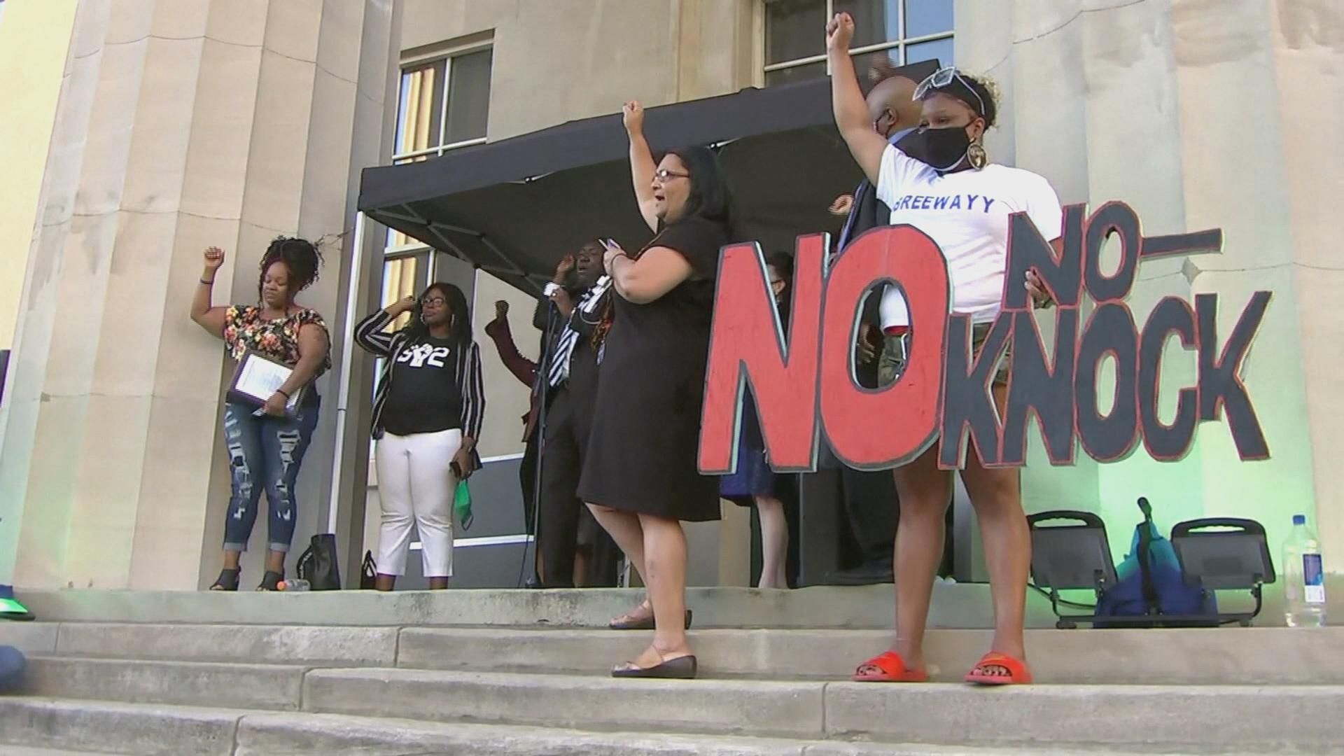 Demonstrators call for an end to no-knock police raids at a rally in Louisville, Ky., in the wake of Breonna Taylor's death. (NBC)