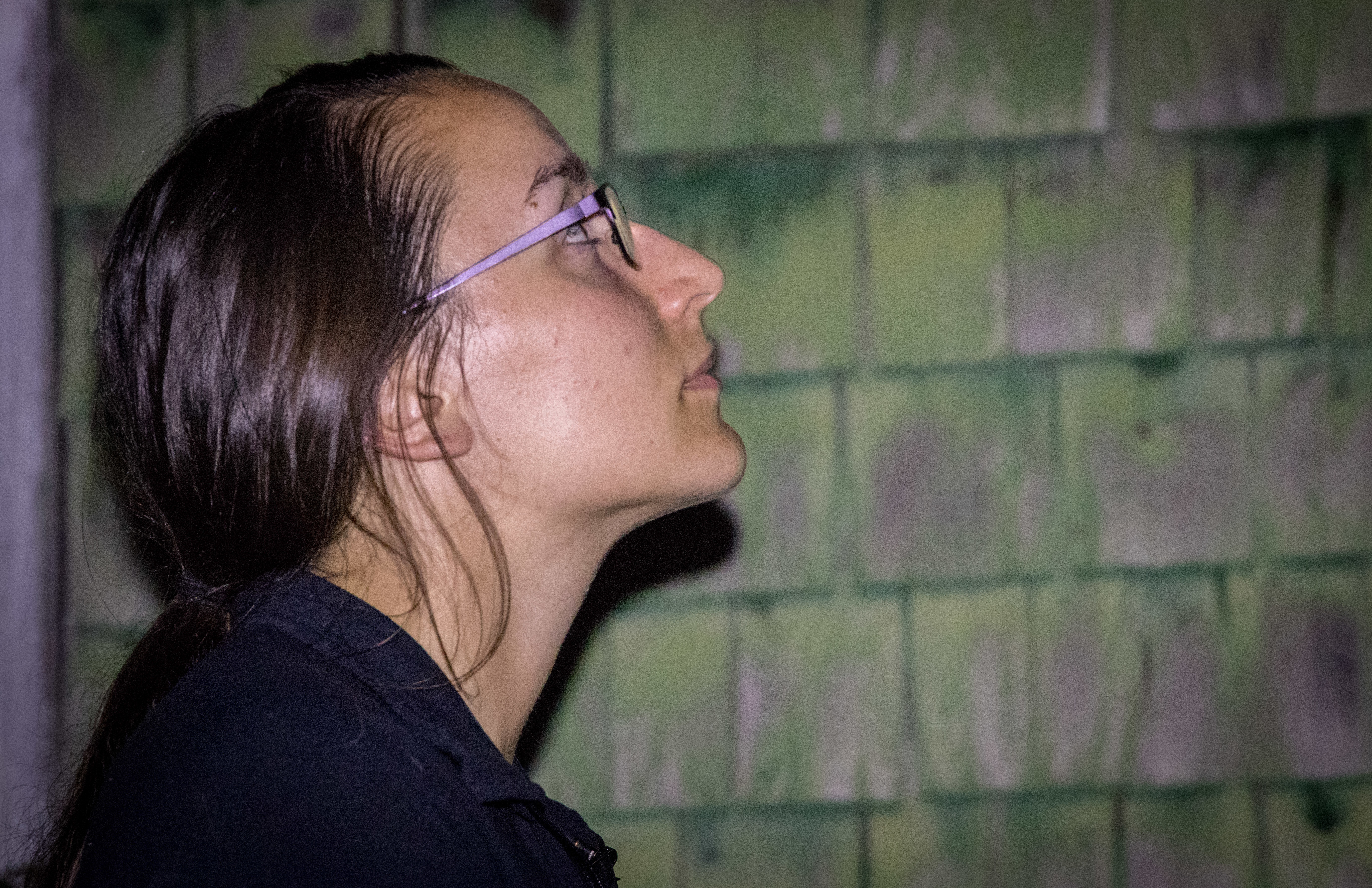 Biologist Lori Phinney looks for bats outside the building. (Steve Berry/CBC)