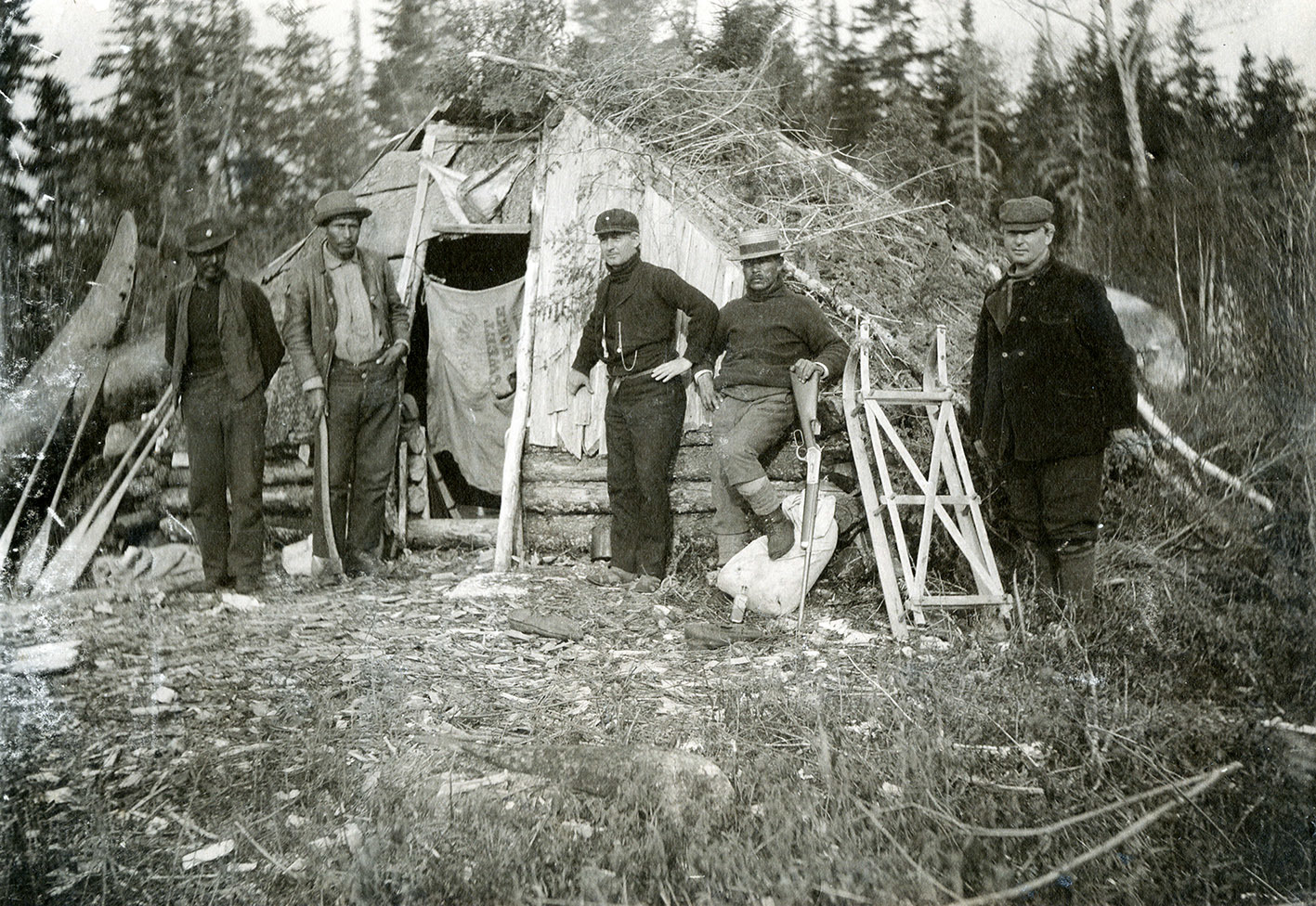 Mi'kmaw guides from Bear River at camp near Weymouth, N.S., circa 1893. (J.A. Irvine/Nova Scotia Archives)