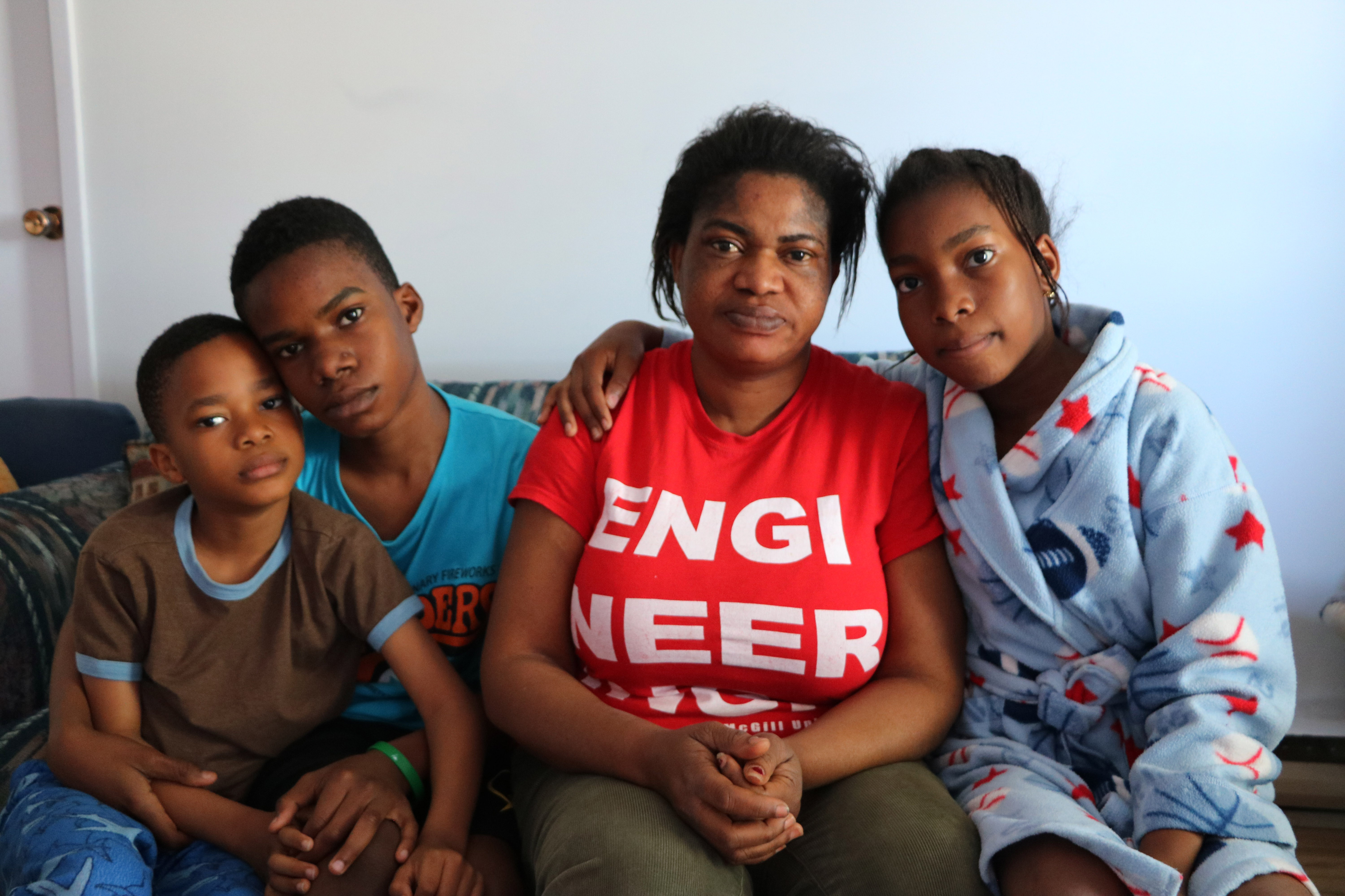 Agnes and her three children currently live in a one-bedroom apartment in a Montreal suburb. (Benjamin Shingler/CBC)