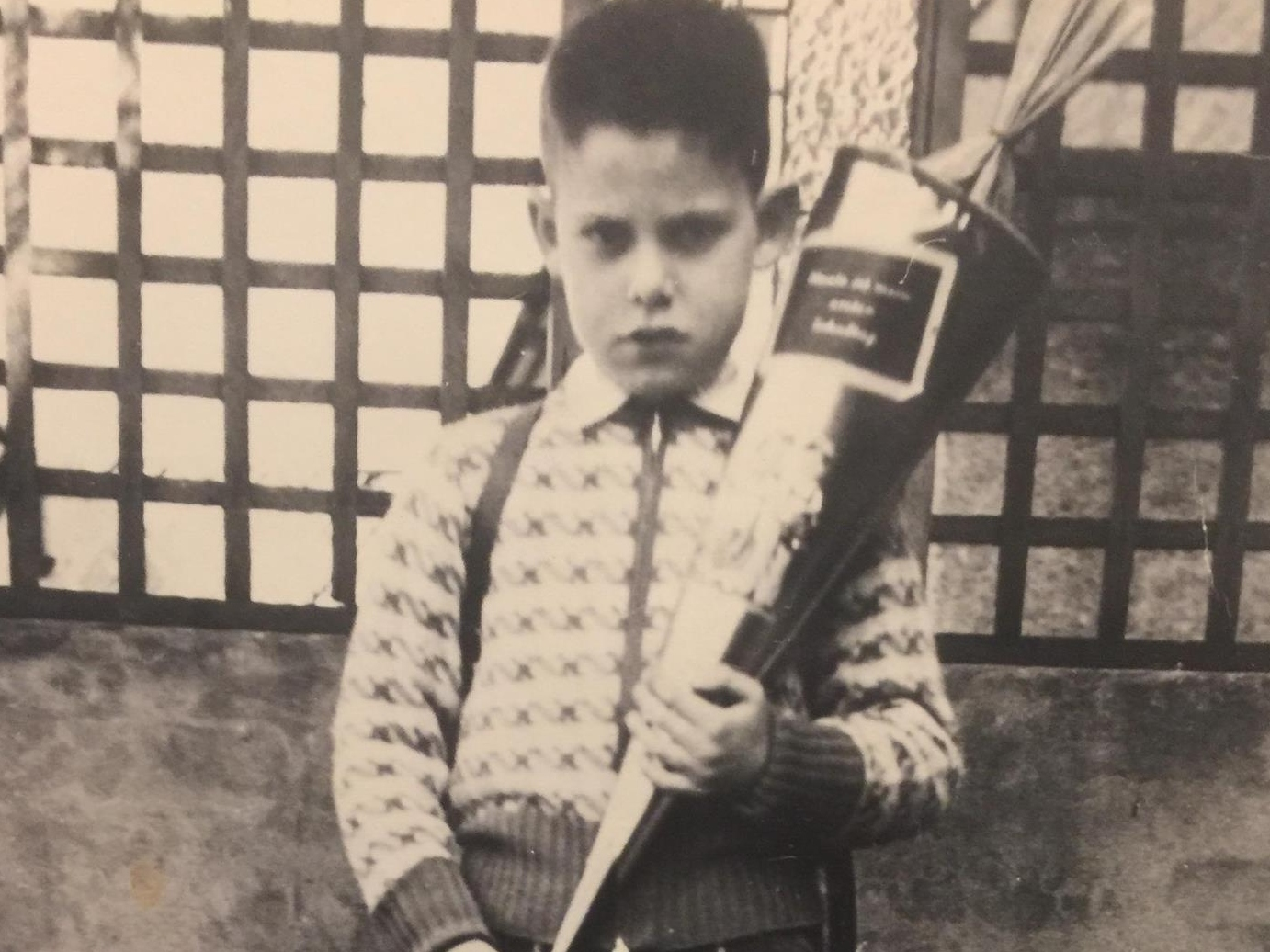 Bernard Krieger as a child in Trier, Germany on his first day of school. Some have noted that his deep, dark glare was apparent even in childhood. (Courtesy Misty Cherry)