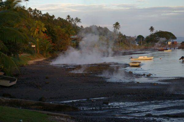 The shoreline hot springs where Krieger fell maintain a boiling temperature (Louise Ianna)