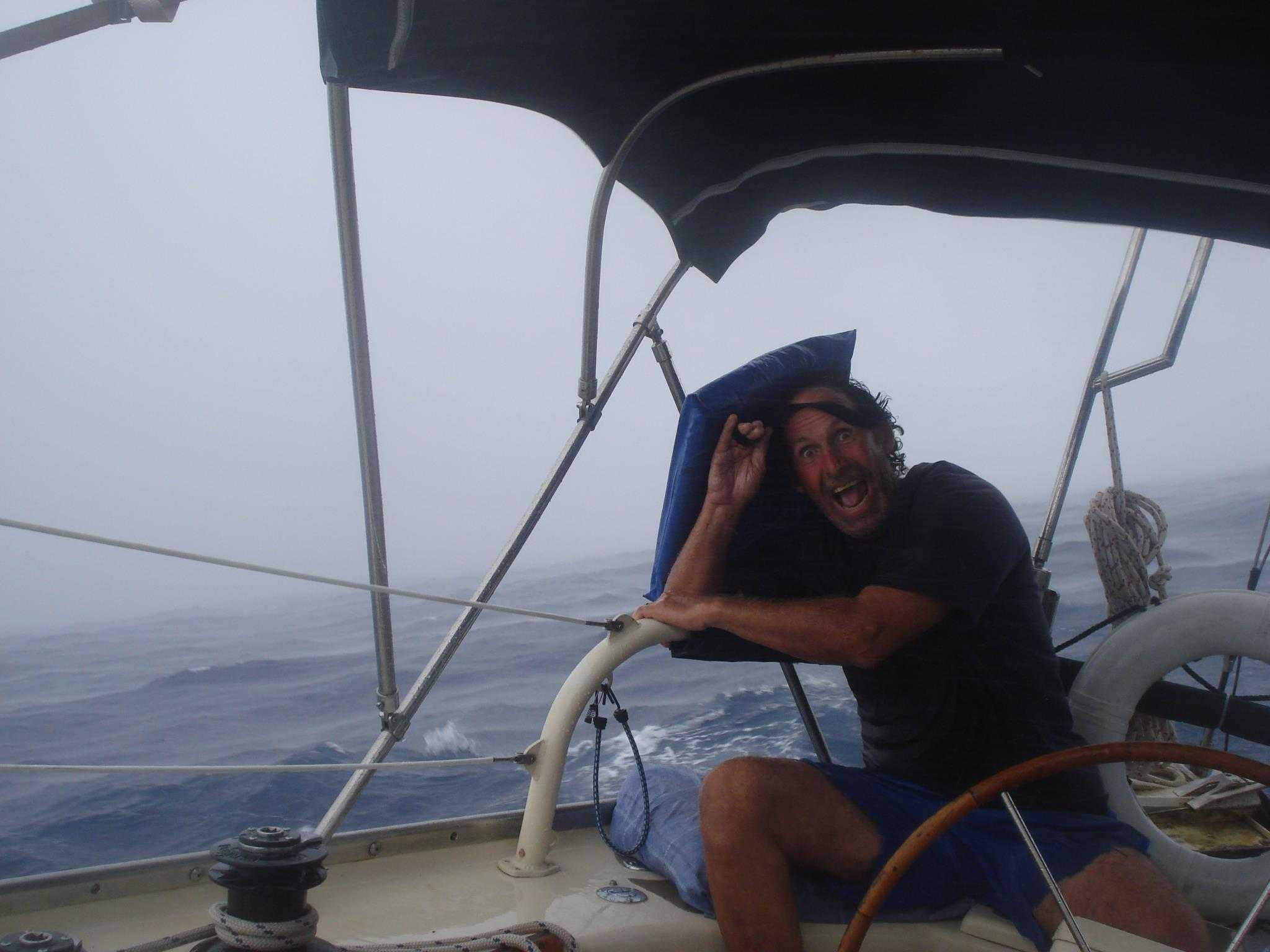 Krieger pictured during a storm on one of his sailing adventures. (Courtesy Darragh McCarthy)