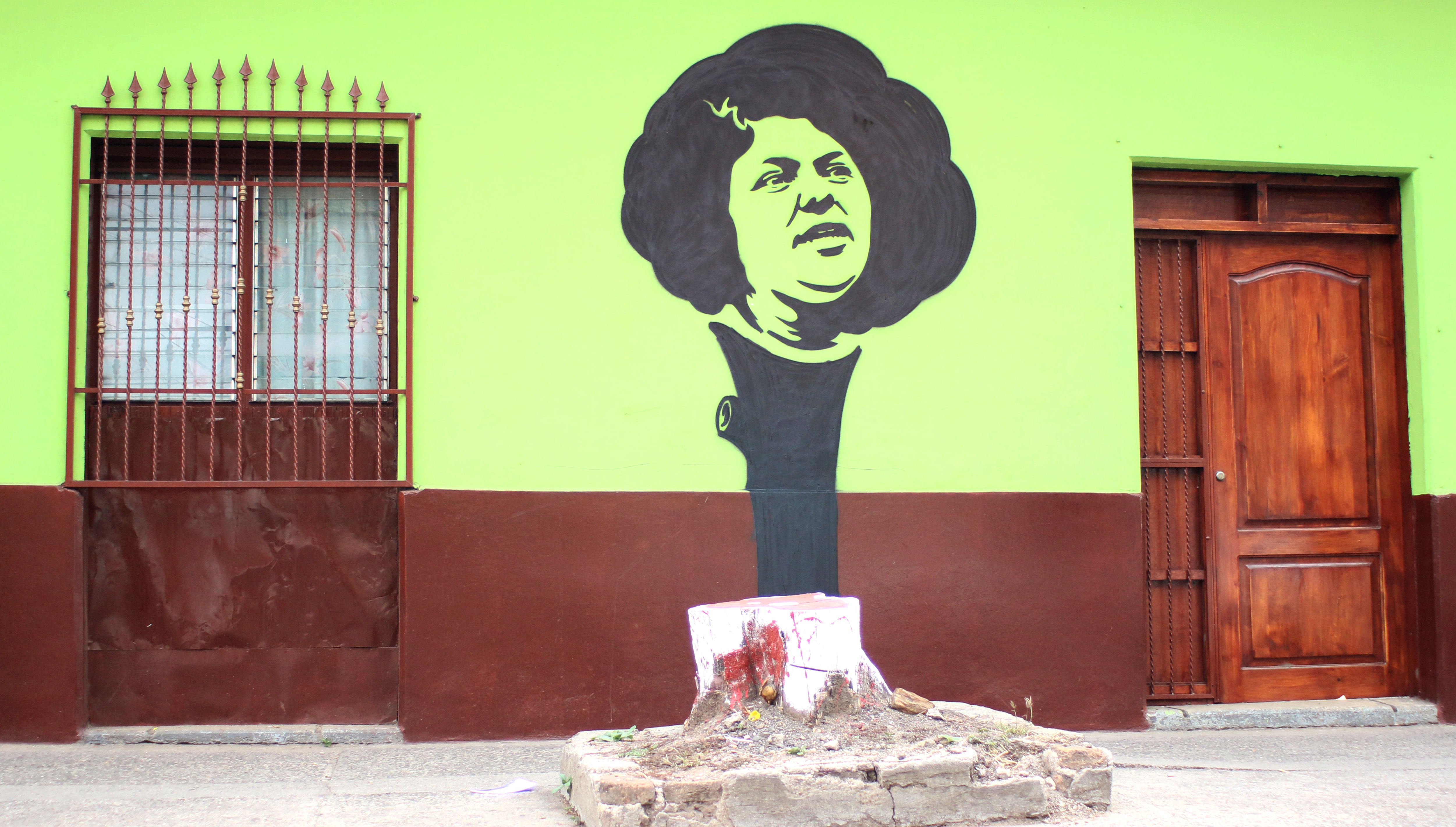 Maeztro Urbano, a street artist from Honduras, painted this stencil of murdered Indigenous hero Berta Cáceres, which seems to grow out of the remains of a tree cut down to keep it away from electricity lines in Tegucigalpa. (Maeztro Urbano)