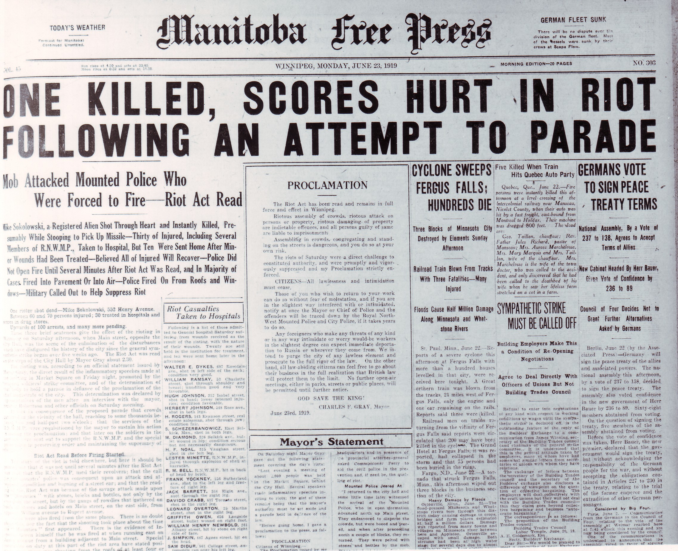 The Manitoba Free Press headline on June 23, 1919, reports on the aftermath of Bloody Saturday. (Archives of Manitoba)