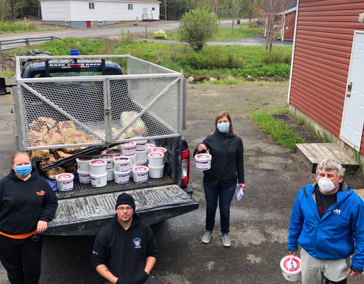 Volunteers in Bonavista helped organize hampers for community distribution. (Submitted by Saltwater Community Association)