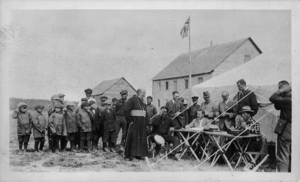 Bishop Breynat gives evidence to treaty commissioners at Fort Providence in 1927. Breynat vouched for the good intentions of treaty commissioners when oral promises made during negotiations never made it into the final text. (Library and Archives Canada)