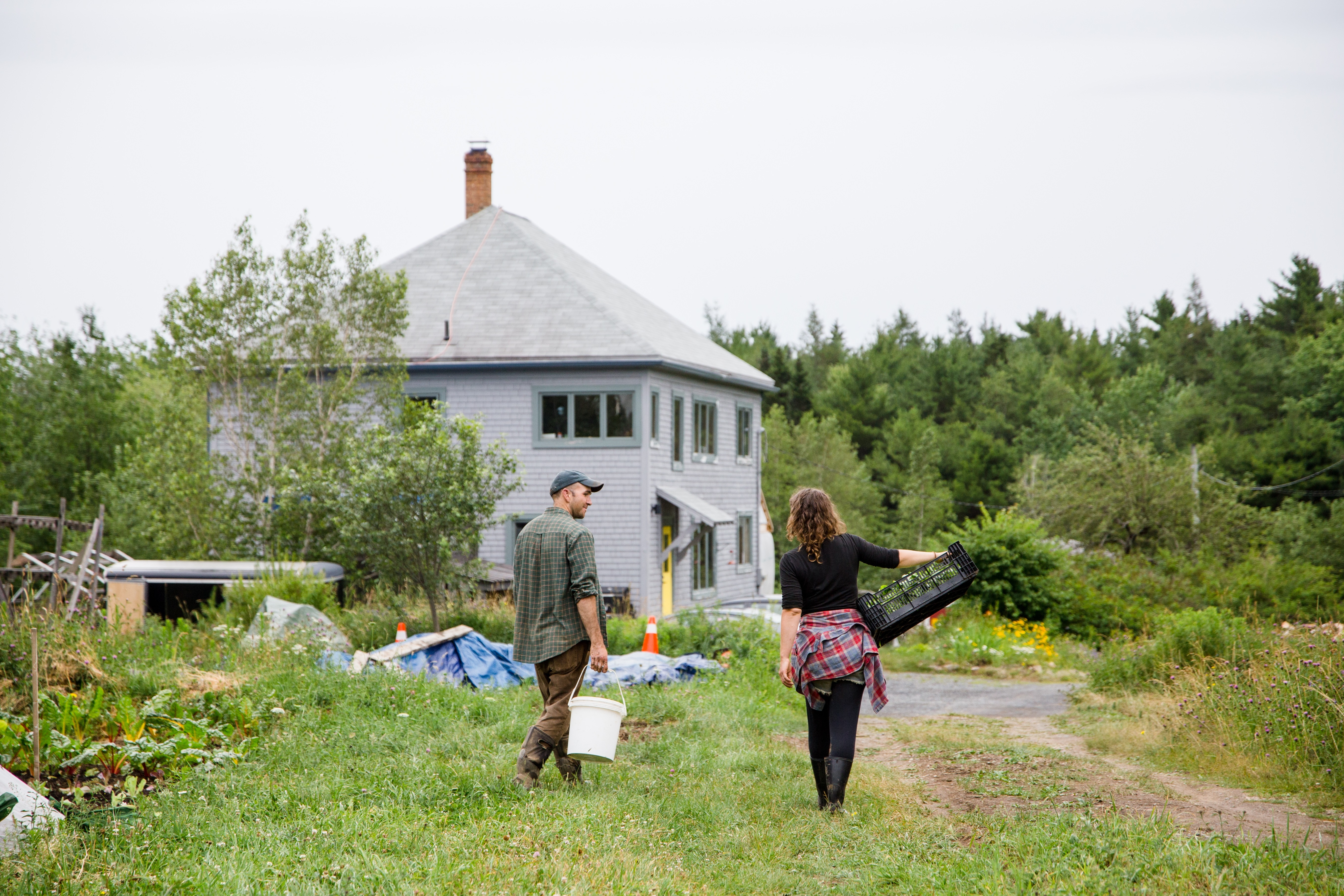 Chris Pyke, left, and Mhari Lamarque are shown at their farm in Pleasantville, N.S.