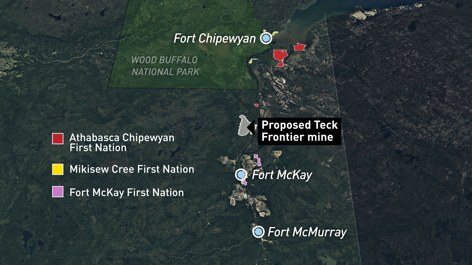 The proposed Frontier site is 110 kilometres north of Fort McMurray. (CBC)