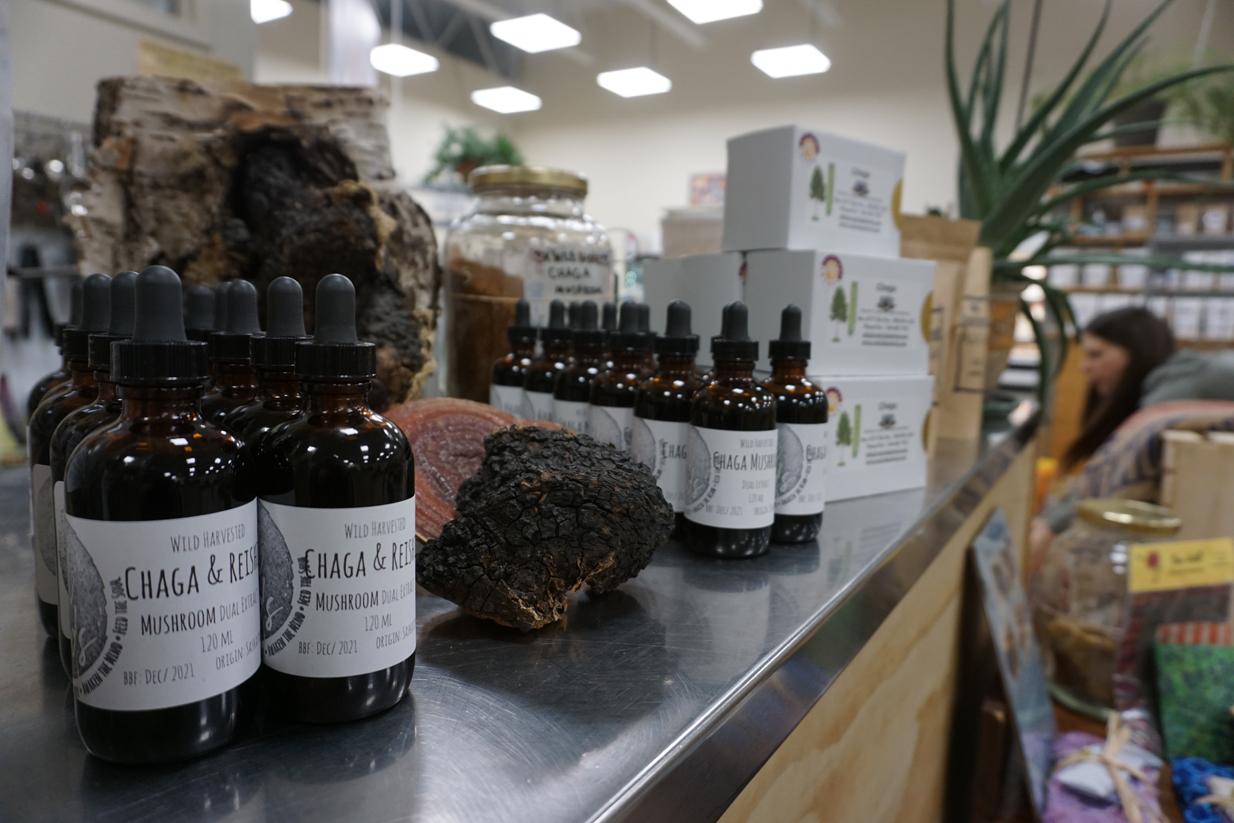 The Saskatoon store Soul Foods sells chaga powder, extract and elixirs made out of chaga tea. (Chelsea Laskowski/CBC)