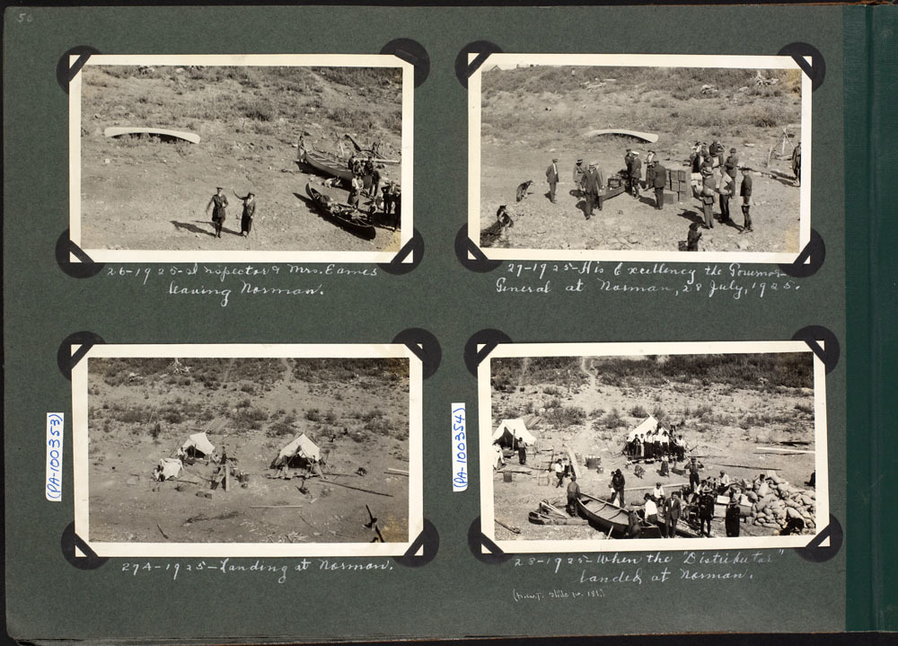 Settler camps at Fort Norman, including one hosting the governor general, in 1925. With the discovery of oil, white settlers poured into the North, and the government expressed interest for the first time in making a treaty with the Dene. (Department of Indian and Northern Affairs Canada / Library and Archives Canada, Accession 1974-366)