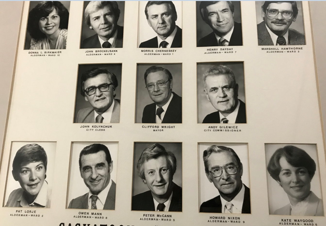 The members of the 1982-1985 Saskatoon City Council: smiling here, but not so much during meetings to discuss the arena. (Guy Quenneville/CBC)