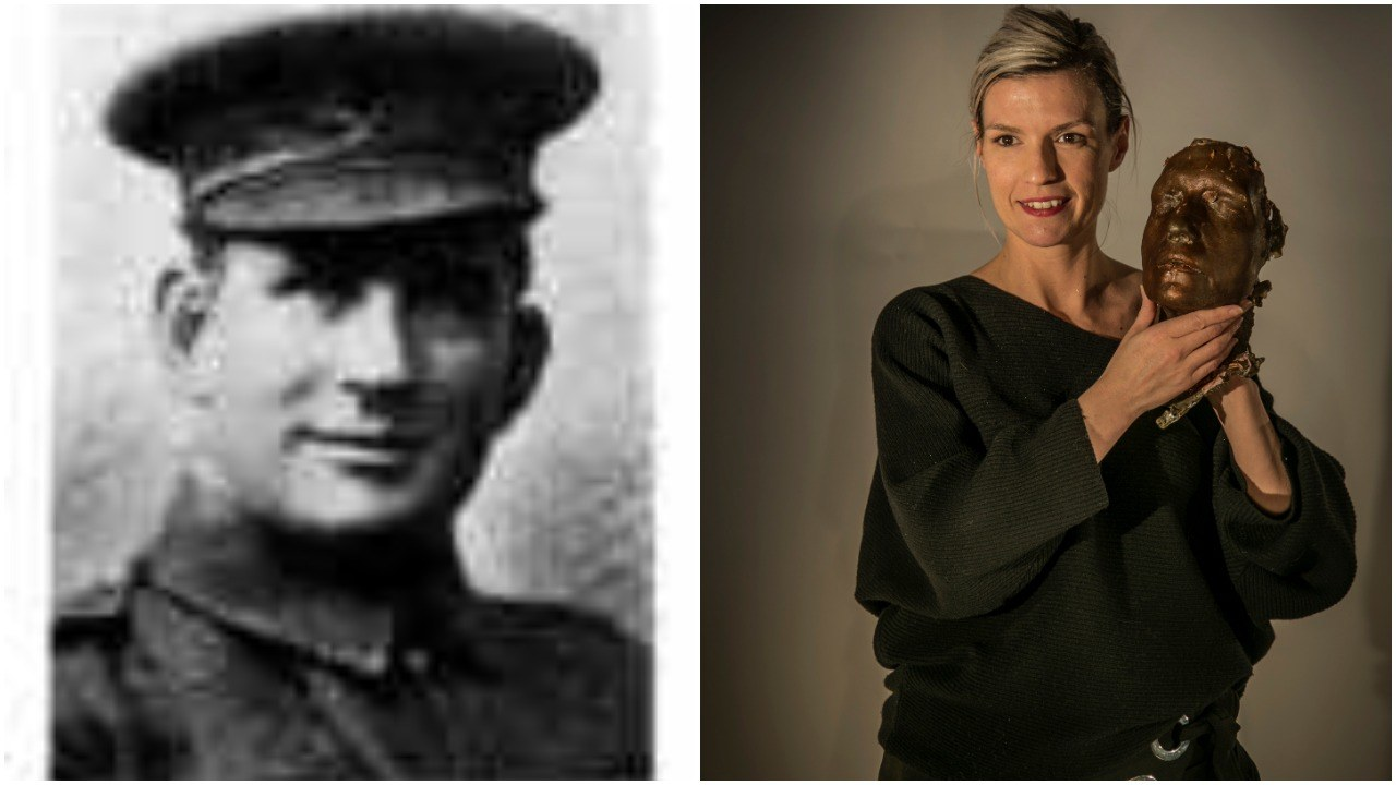 Thomas J. Connors of the Royal Newfoundland Regiment and his great-granddaughter Krissy Holmes. (The Rooms, left/Ian Gillies, right)