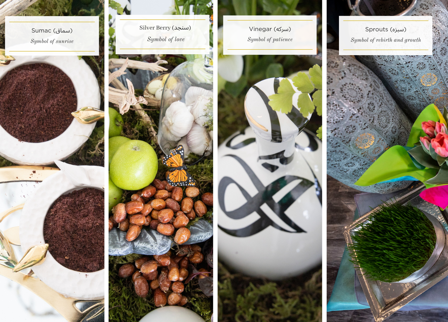 The seven items on the haft-sin table all start with the letter S and each have symbolic meaning. (Tina Lovgreen/CBC)