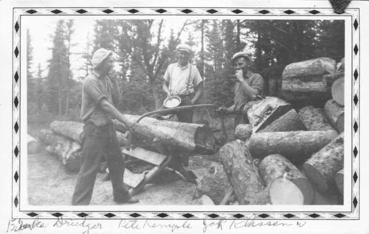 Conscientious objectors assigned to alternative service during the Second World War cut wood in Riding Mountain National Park, Man. (Ed Brooks photo collection/Mennonite Heritage Archives)